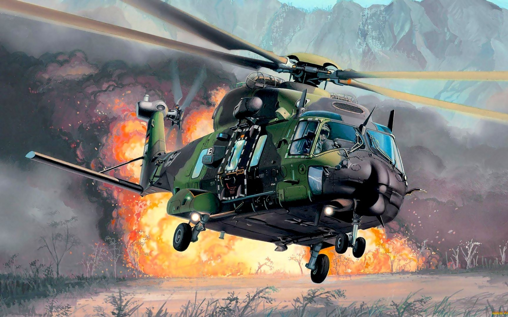 24588 скачать обои Транспорт, Вертолеты, Рисунки, Оружие - заставки и картинки бесплатно