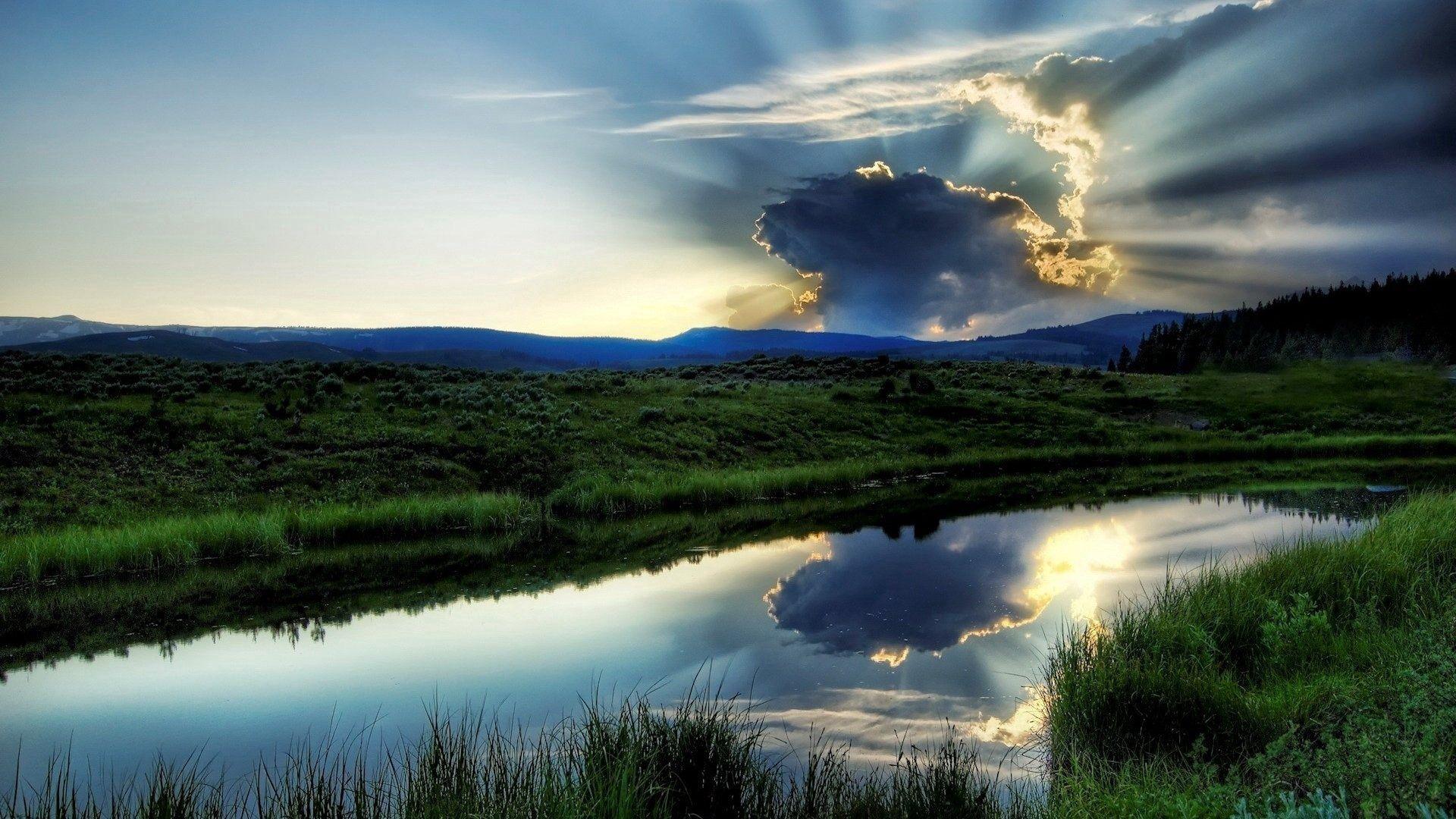 80292 免費下載壁紙 性质, 云, 云端, 闪耀, 光, 阴影, 横梁, 光束, 河, 海岸, 宁静, 无所不能, 太阳 屏保和圖片