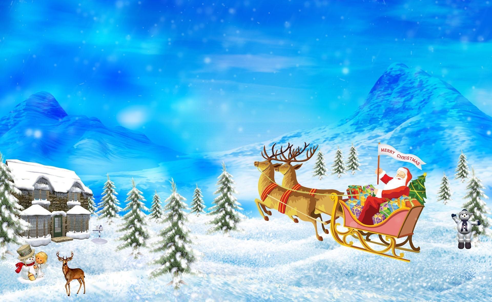 133511 descargar fondo de pantalla Vacaciones, Papá Noel, Ciervos, Trineo, Presenta, Regalos, Navidad, Día Festivo, Casa, Montañas: protectores de pantalla e imágenes gratis
