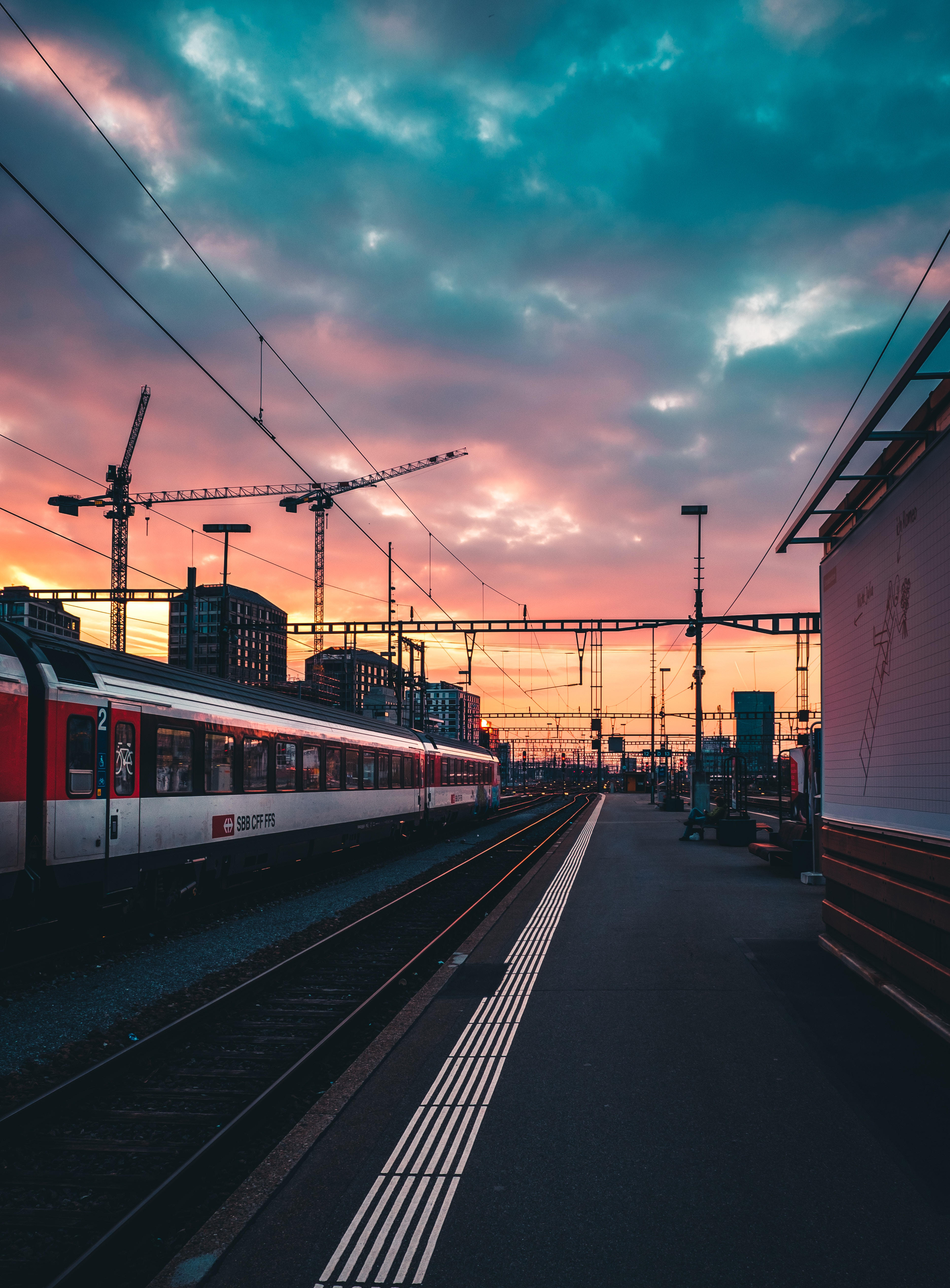 95836 Screensavers and Wallpapers Cities for phone. Download Cities, Sunset, Railway, Station, Train, Expectation, Waiting pictures for free