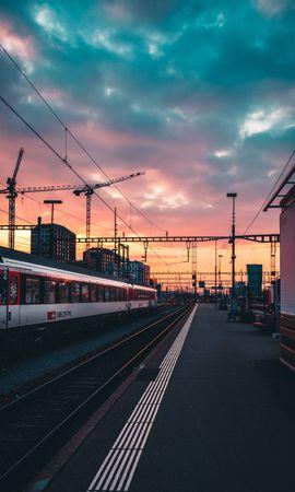 95836 baixar papel de parede Estrada De Ferro, Ferrovia, Um Trem, Trem, Estação, Pôr Do Sol, Expectativa, Espera, Cidades - protetores de tela e imagens gratuitamente