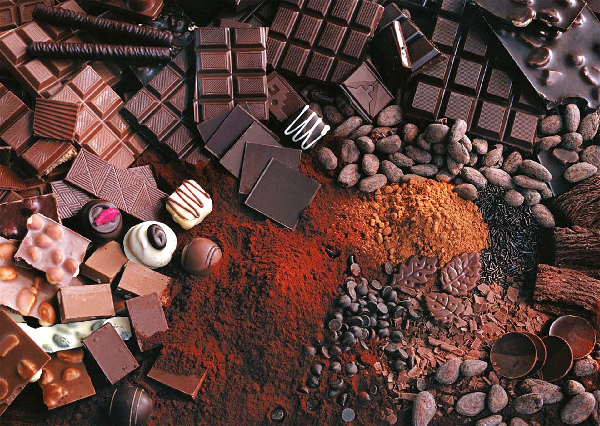 121722 скачать обои Еда, Шоколад, Ассорти, Сладкое, Орехи, Какао - заставки и картинки бесплатно
