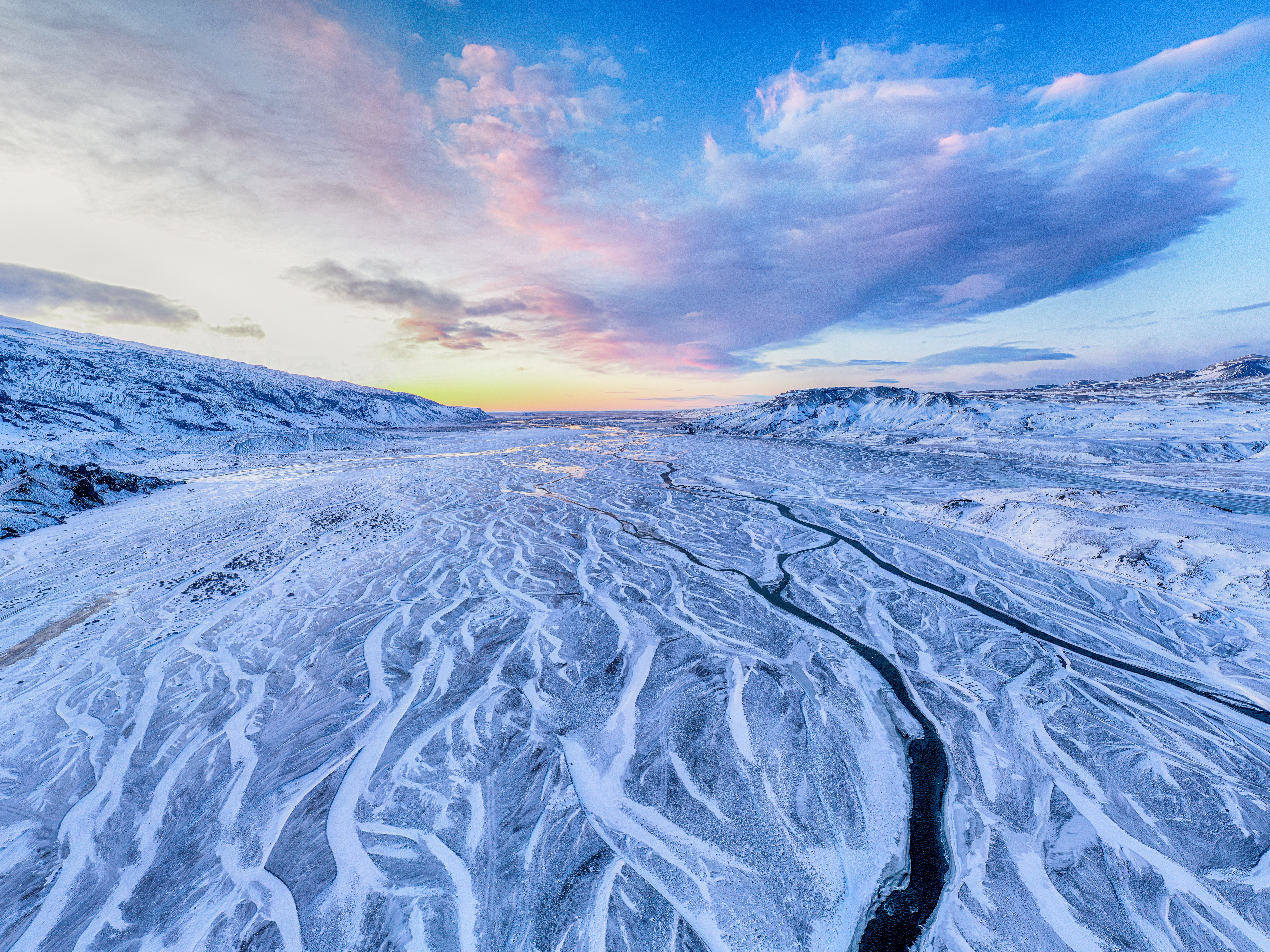 54599 download wallpaper Nature, Rivers, Snow, View From Above, Winter, Mountains, Landscape screensavers and pictures for free
