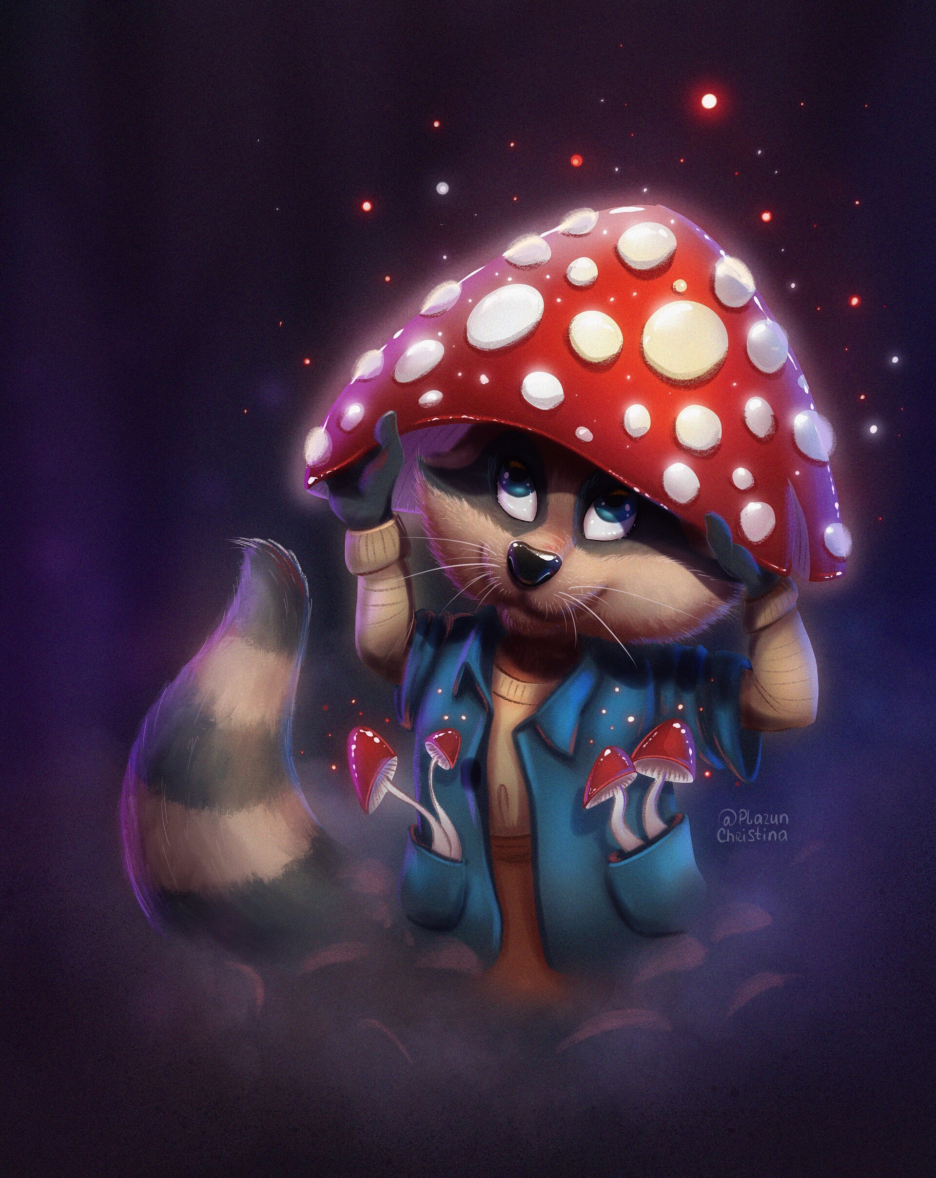 101954 download wallpaper Raccoon, Mushroom, Fly Agaric, Nice, Sweetheart, Art screensavers and pictures for free