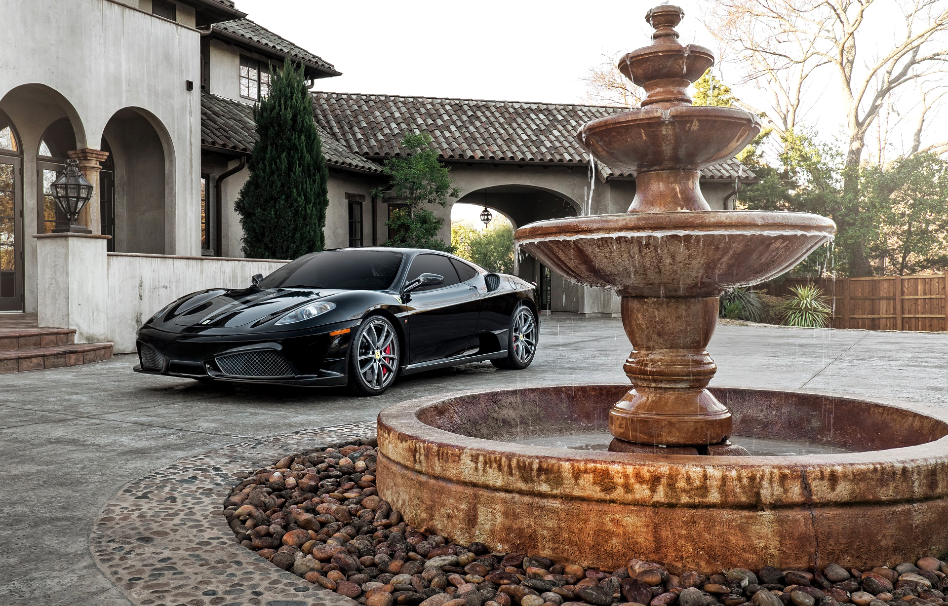 154014 Screensavers and Wallpapers Ferrari for phone. Download Ferrari, Fountain, Cars, Side View, F430 pictures for free