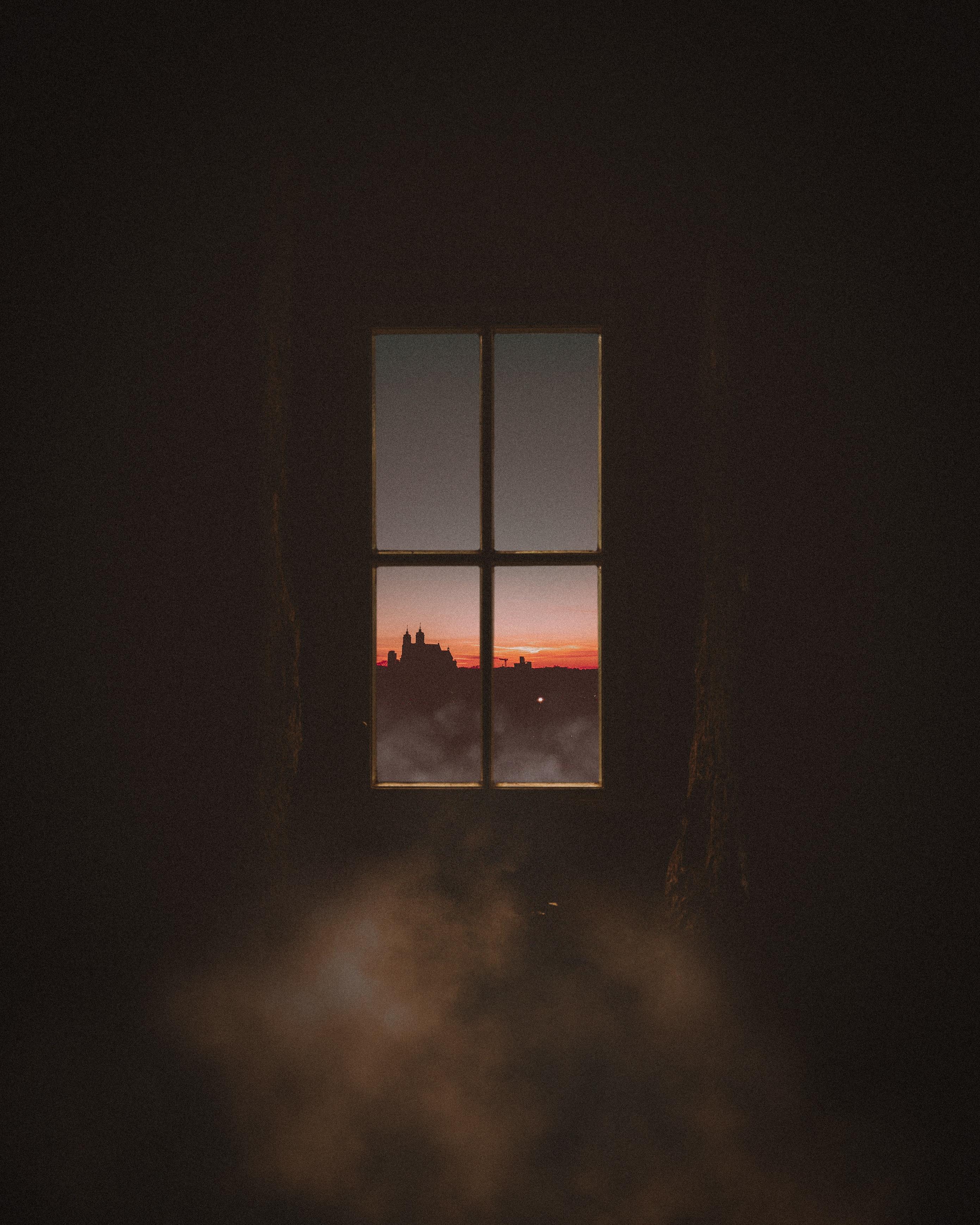 108667 скачать обои Темные, Темнота, Окно, Темный, Дым, Вид - заставки и картинки бесплатно