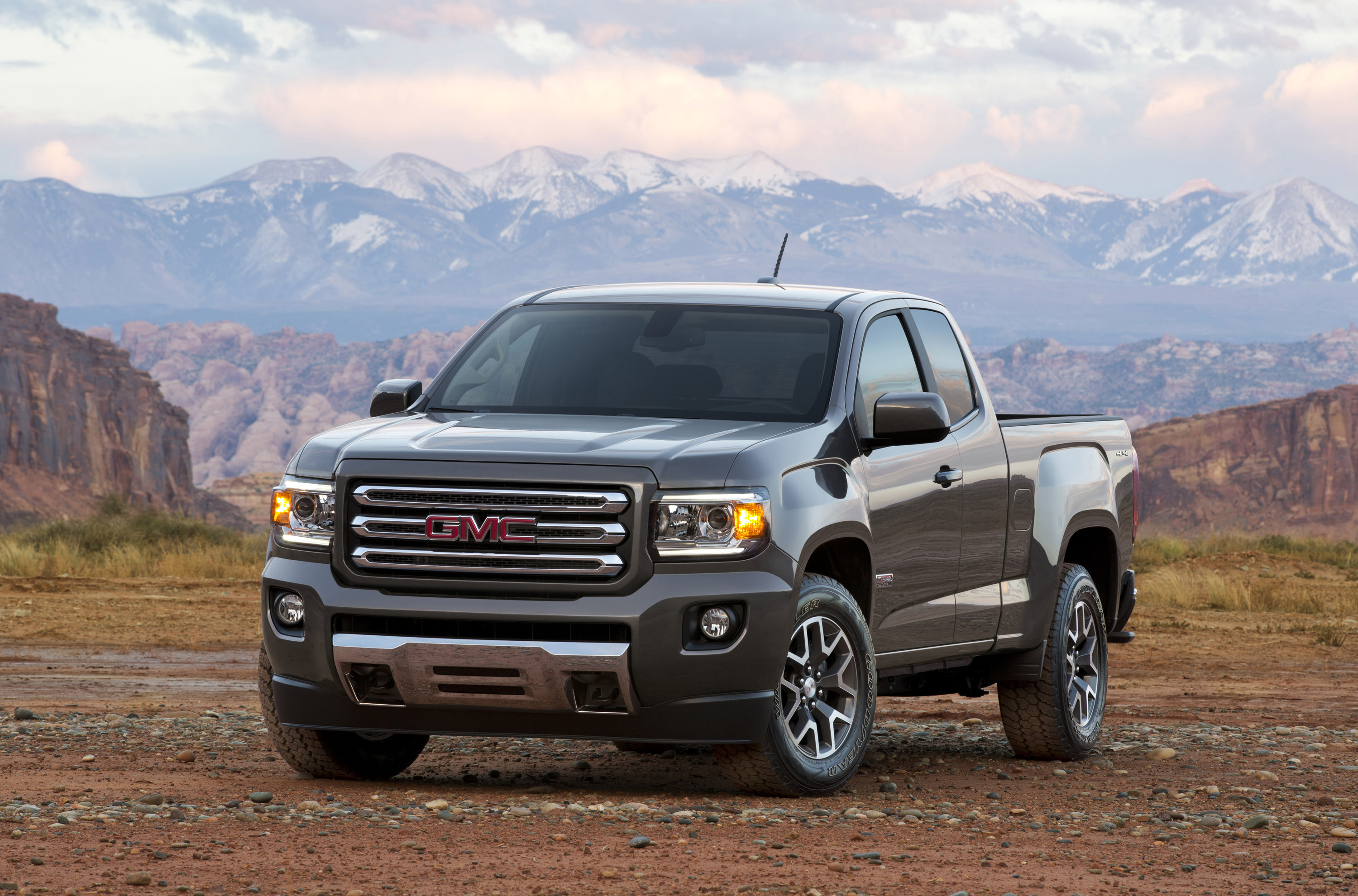 113957 download wallpaper Cars, Gmc, Canyon, 2015, Pickup, Mountains screensavers and pictures for free
