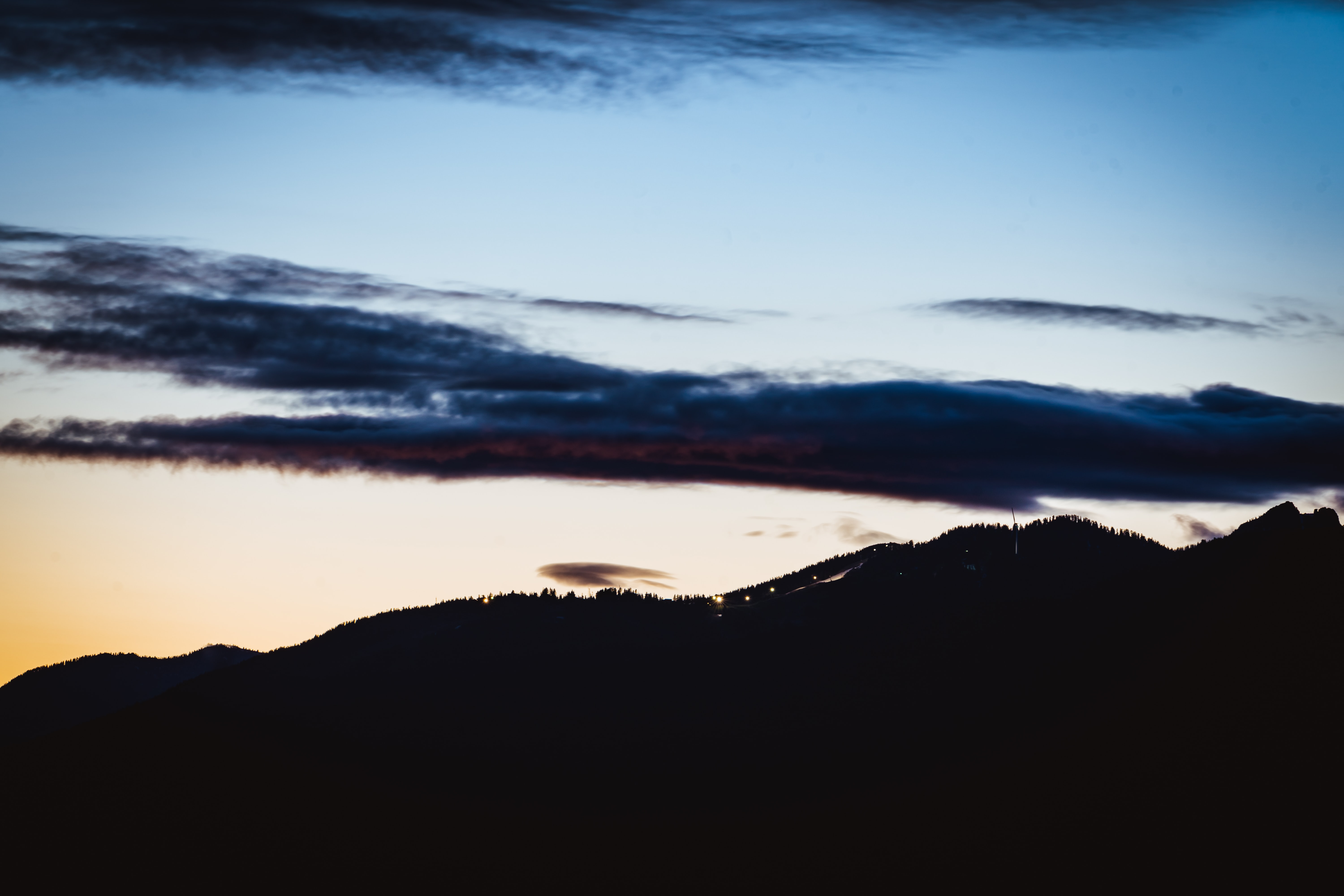 137751 download wallpaper Nature, Hill, Silhouette, Dusk, Twilight, Sky screensavers and pictures for free