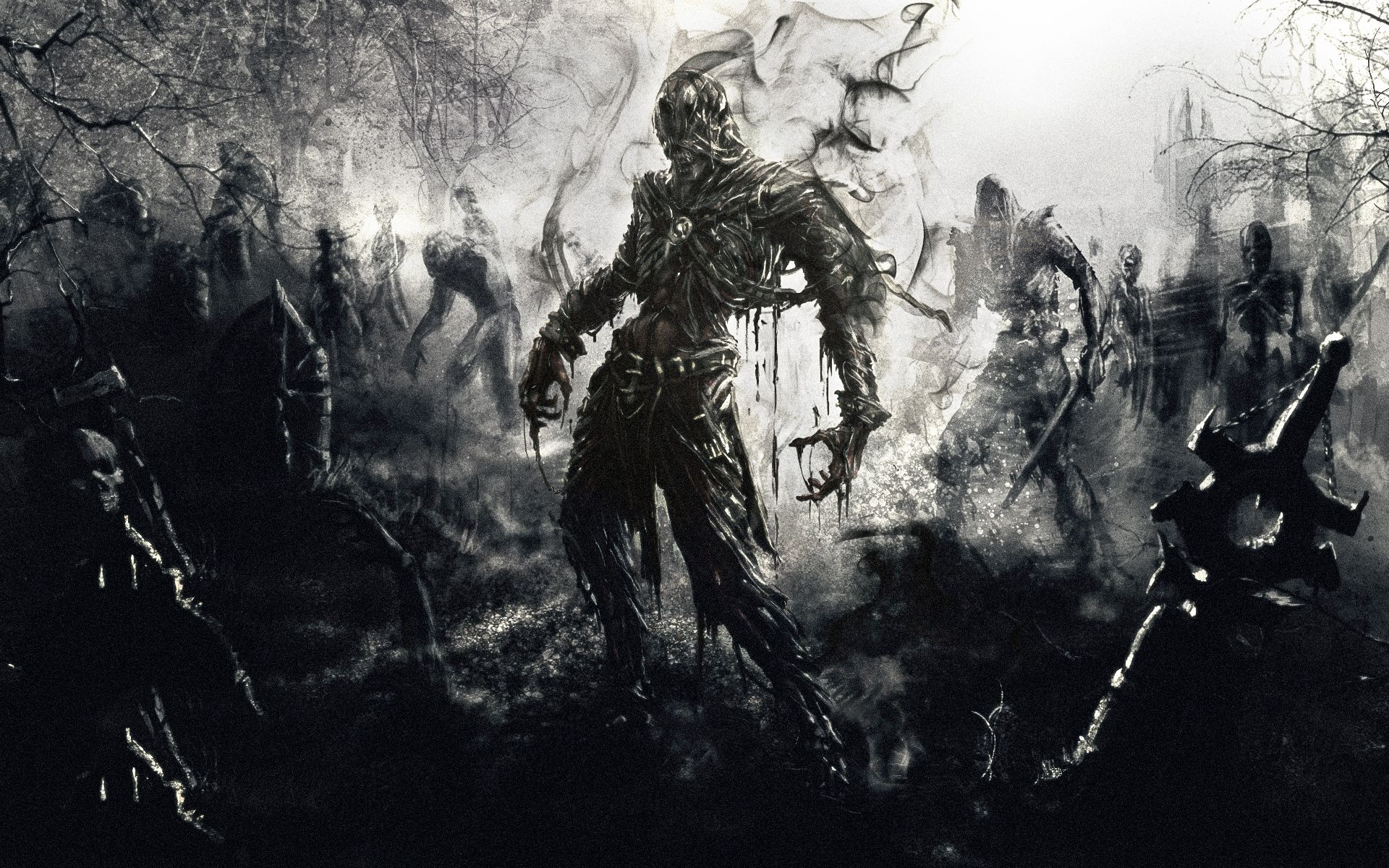 141670 download wallpaper Fantasy, Zombies, Picture, Drawing, Art screensavers and pictures for free