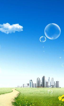 54616 скачать обои Вектор, Город, Даль, Небо, Пузырь, Облака, Одуванчики, Солнце - заставки и картинки бесплатно
