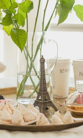 106196 baixar papel de parede Comida, Café Da Manhã, Bandeja, Paris, Café, Bolo, Flores - protetores de tela e imagens gratuitamente
