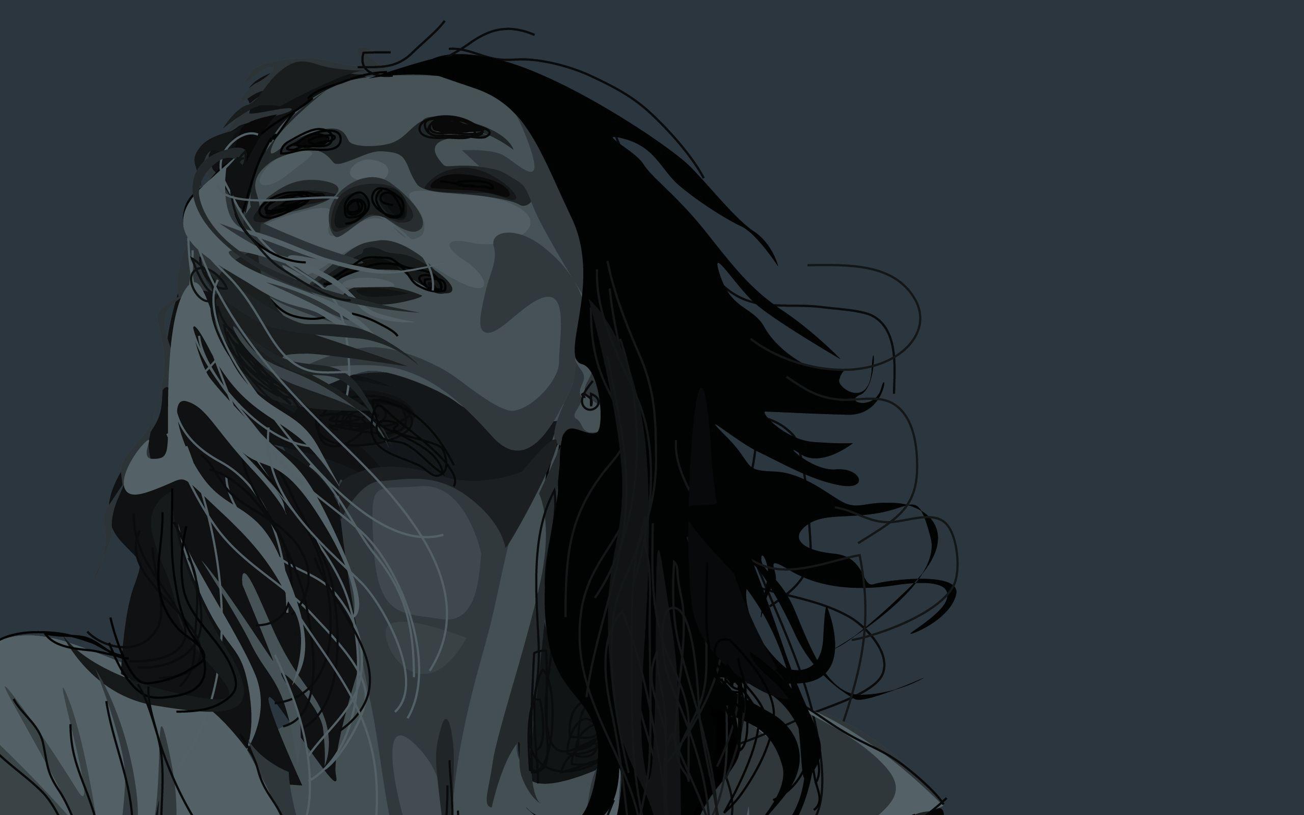 114133 Hintergrundbild herunterladen Mädchen, Vektor, Porträt, Haar, Gesicht - Bildschirmschoner und Bilder kostenlos