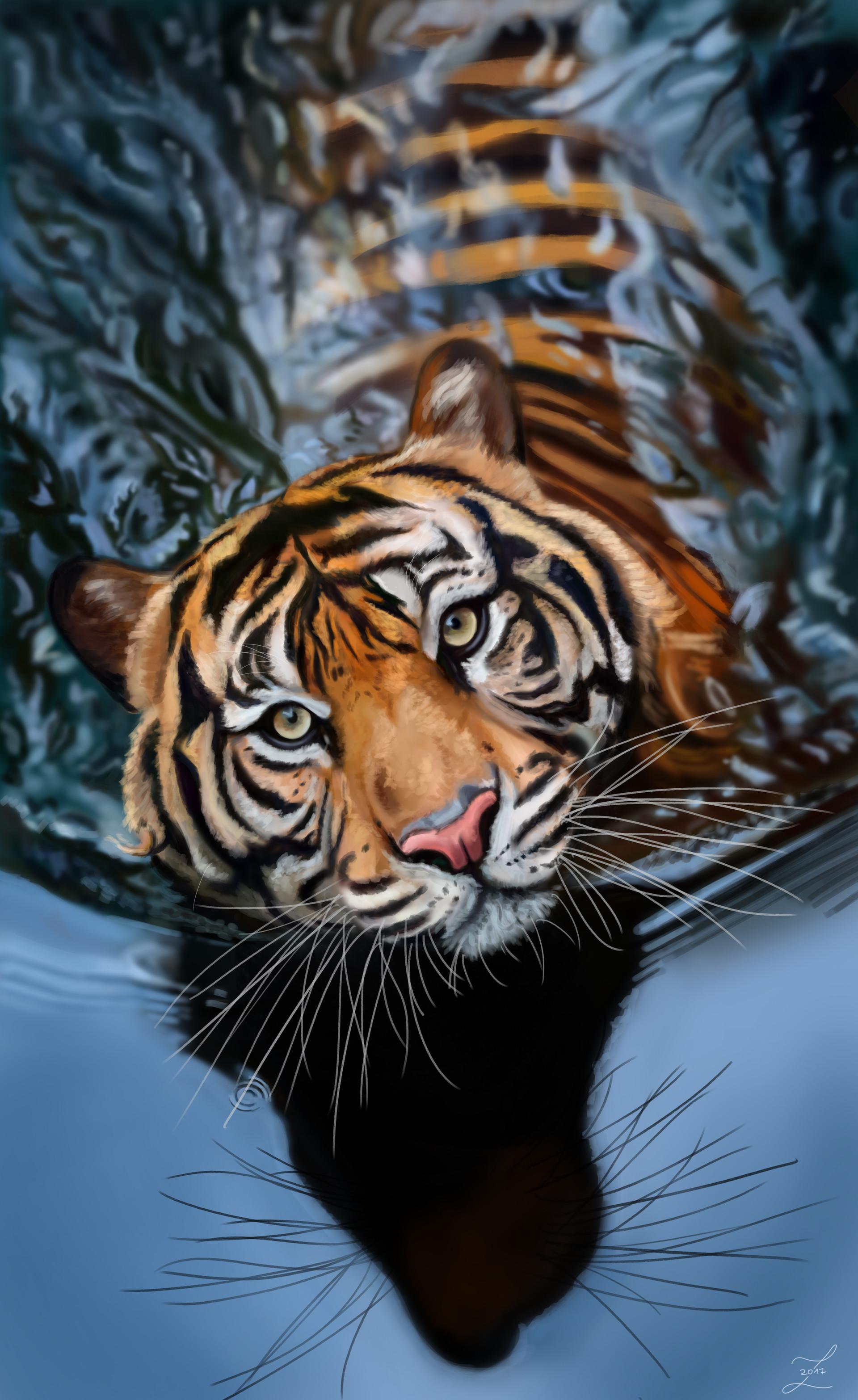 92902 скачать обои Тигр, Большая Кошка, Хищник, Вода, Арт, Полосатый - заставки и картинки бесплатно