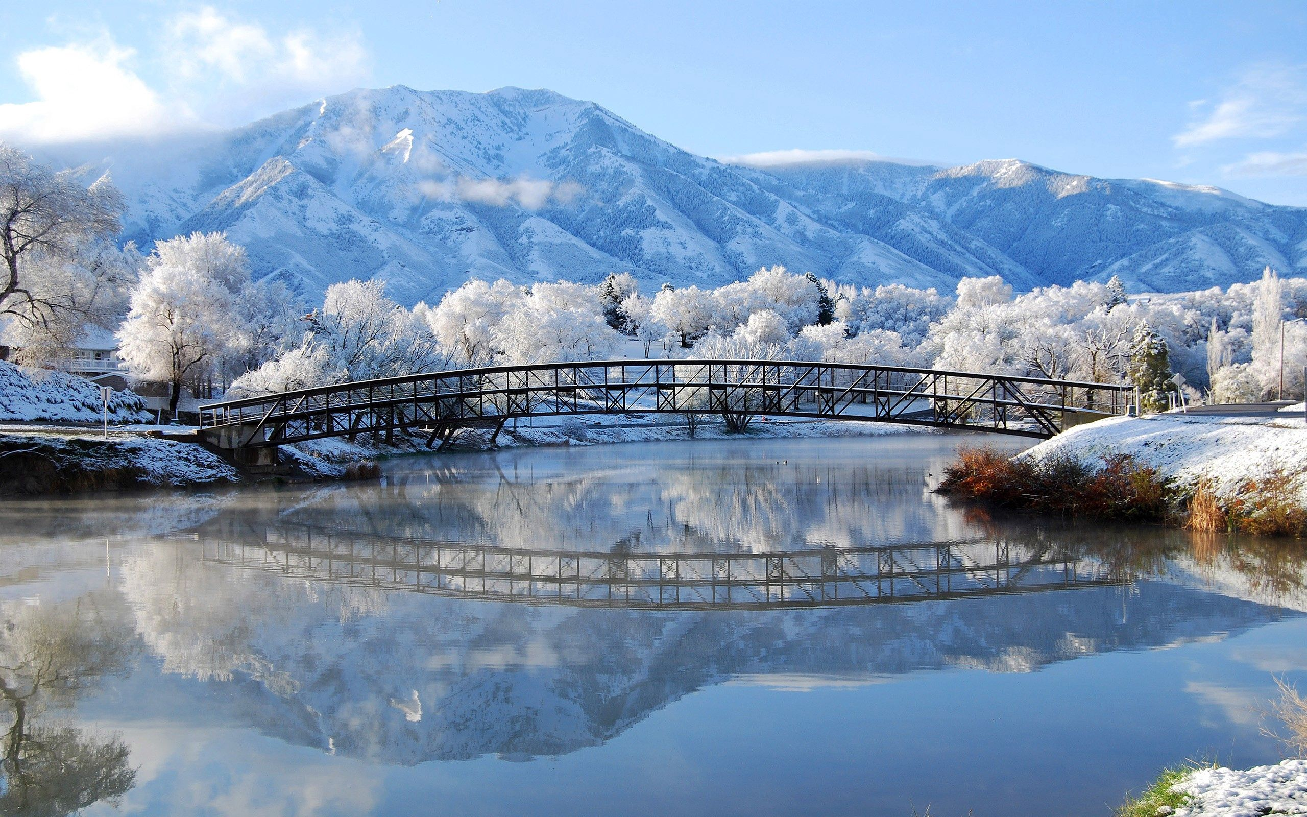 97562 Screensavers and Wallpapers Bridge for phone. Download Landscape, Cities, Winter, Bridge pictures for free