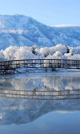 97562 скачать обои Зима, Мост, Города, Пейзаж - заставки и картинки бесплатно