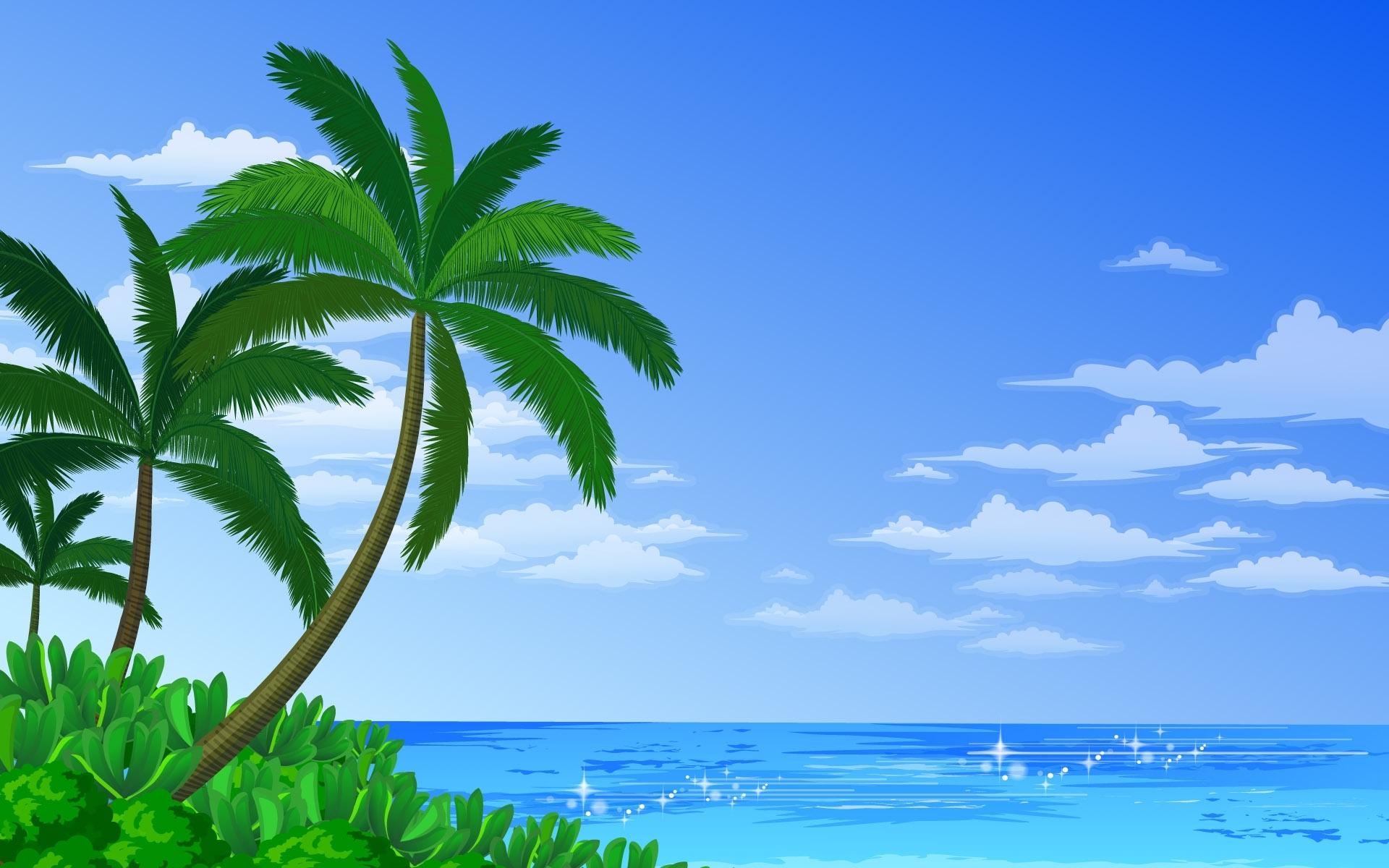 593 скачать обои Пейзаж, Вода, Небо, Море, Пальмы, Рисунки - заставки и картинки бесплатно
