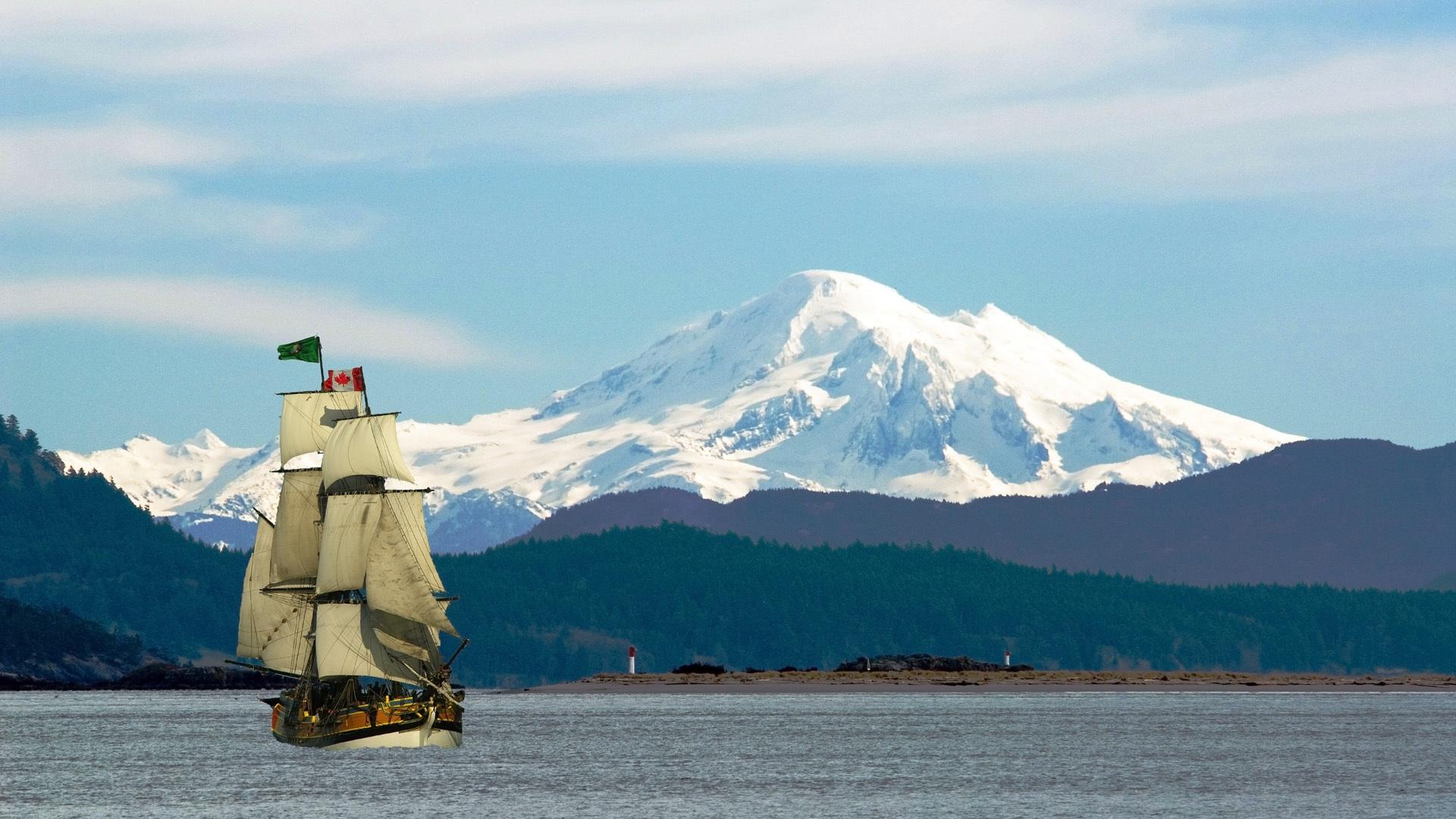 Скачать картинку Корабли, Море, Горы, Транспорт, Пейзаж в телефон бесплатно.
