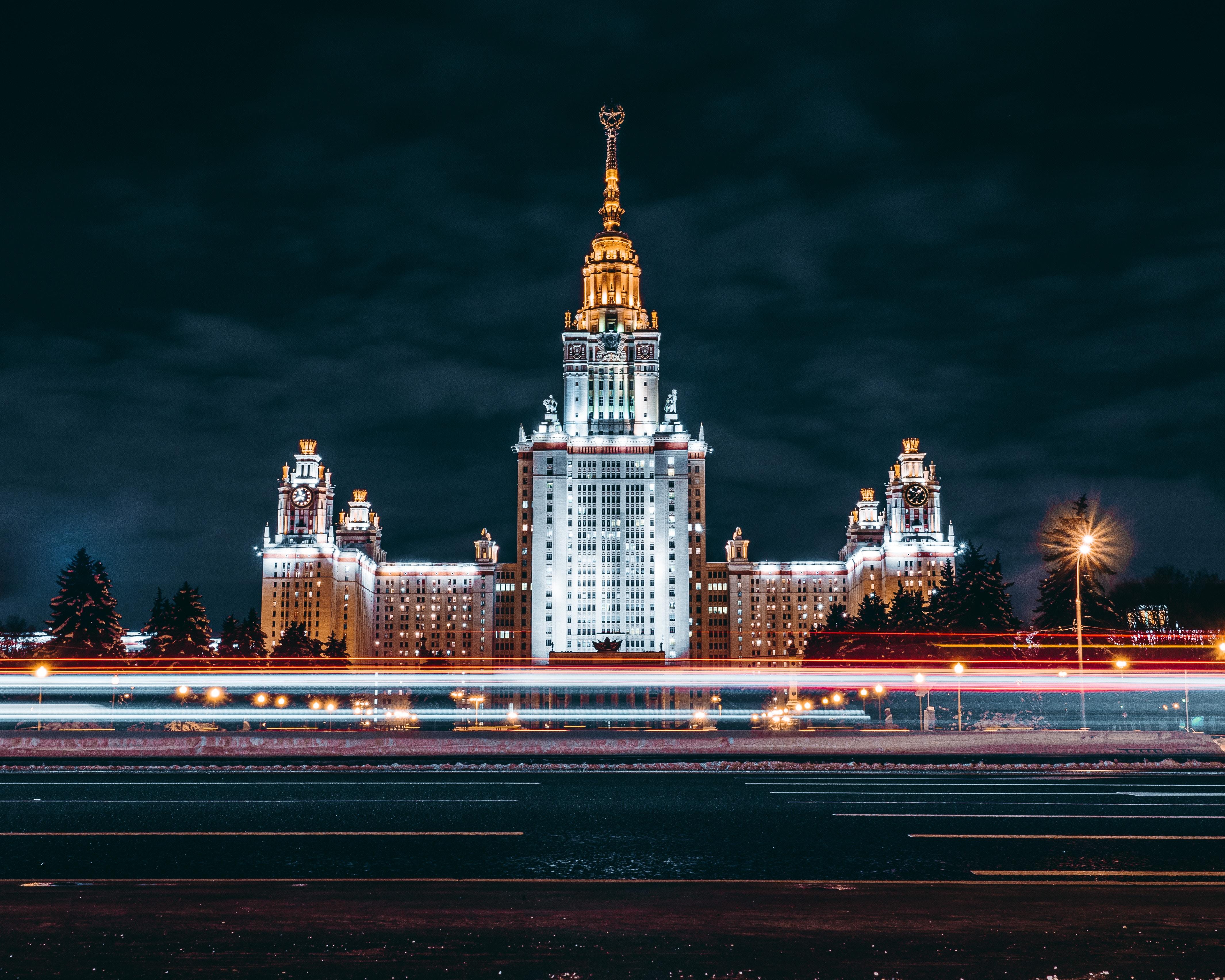 120592 скачать обои Архитектура, Москва, Города, Ночной Город, Длительное Воздействие - заставки и картинки бесплатно
