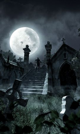 14508 download wallpaper Landscape, Night, Moon, Zombies screensavers and pictures for free
