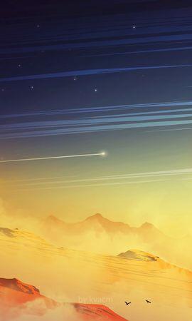 64028 скачать обои Арт, Внеземной, Скалы, Пыль, Планета, Космический, Звезды, Пейзаж - заставки и картинки бесплатно