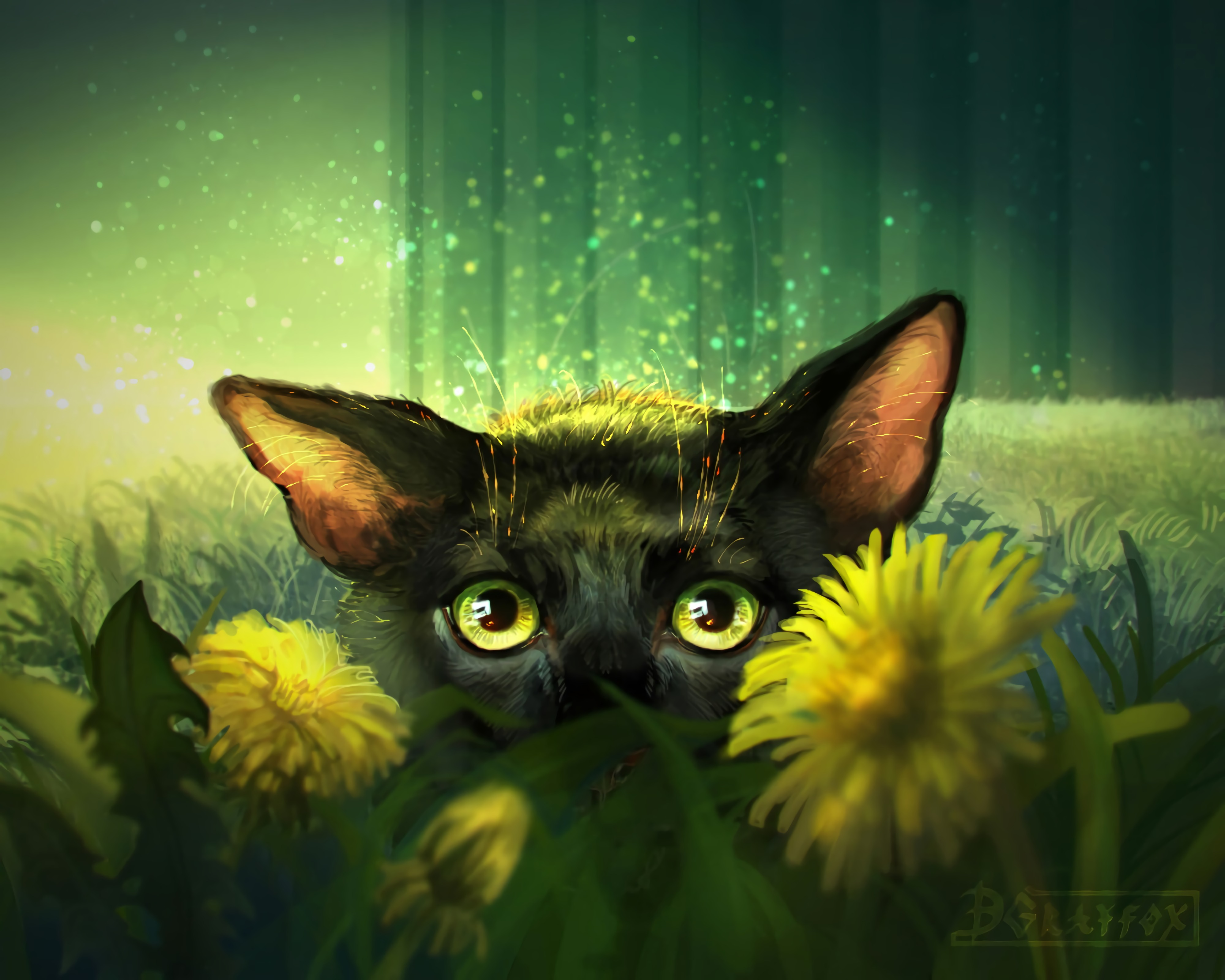 133178 download wallpaper Cat, Art, Eyes, Sight, Opinion, Flowers screensavers and pictures for free