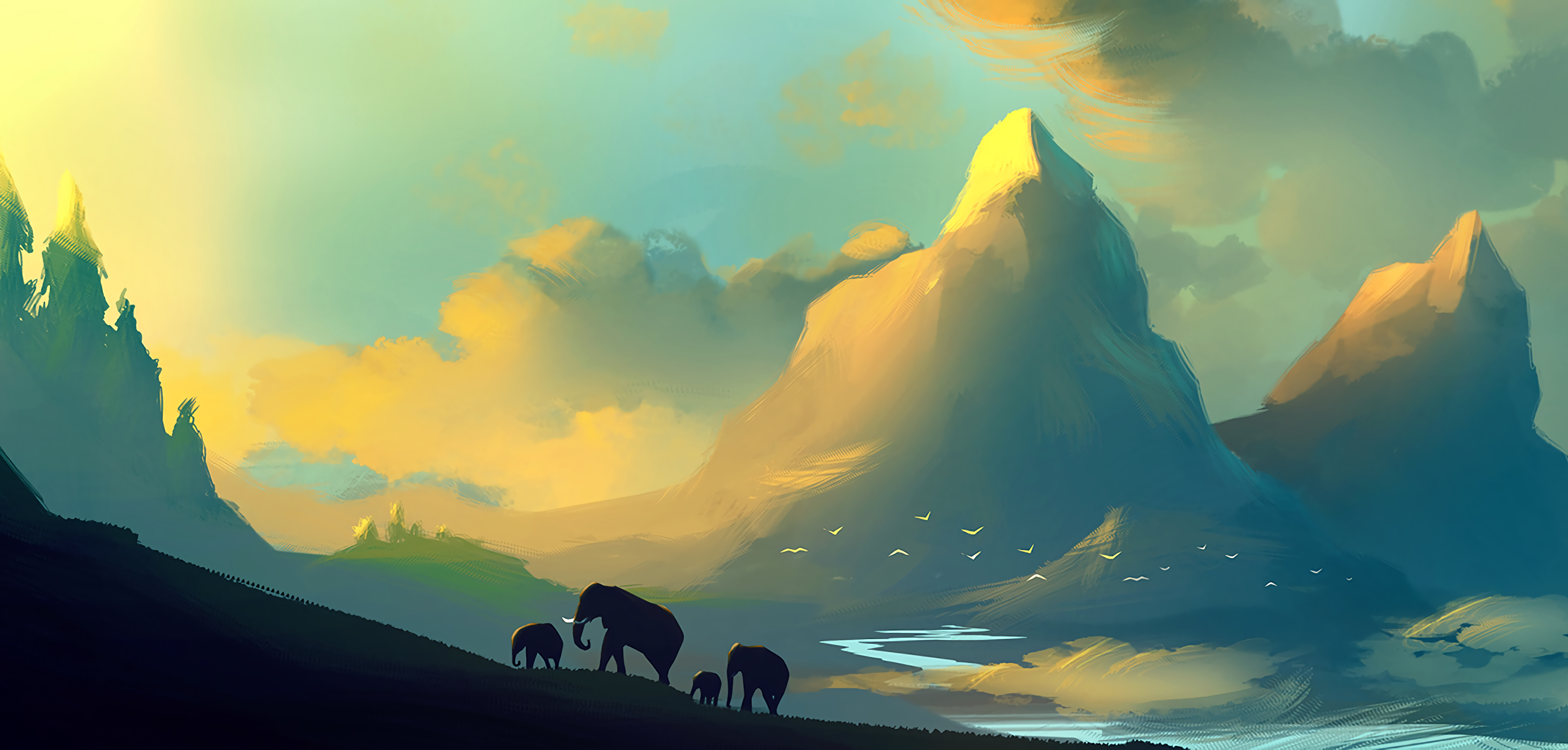 72336 download wallpaper Landscape, Art, Elephants, Picture, Wildlife, Family screensavers and pictures for free