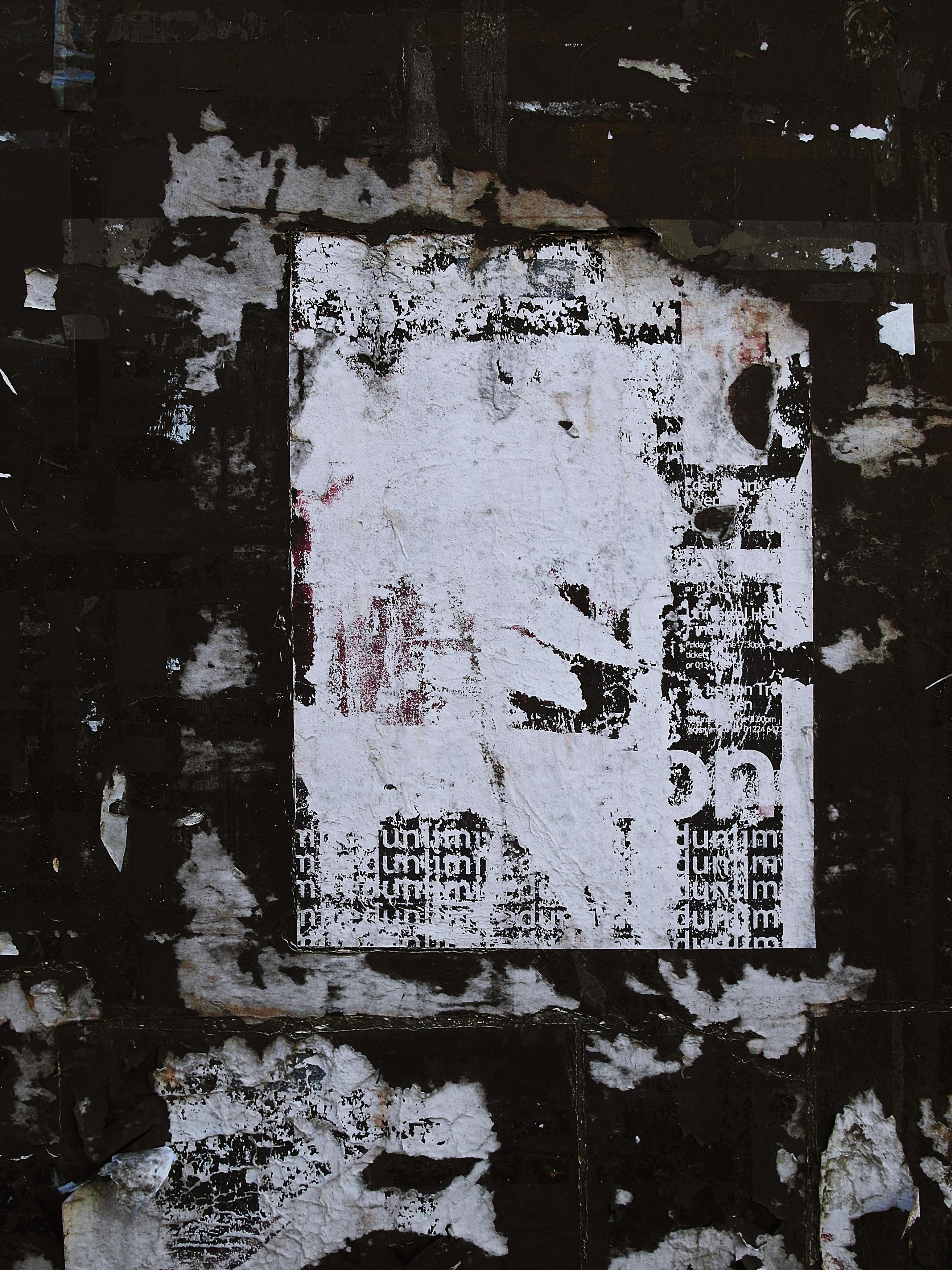 免費壁紙145323:纹理, 墙, 墙面, 贴纸, 衣衫褴褛, 破败不谈, 老的, 老, 纸, 纸质 下載手機圖片