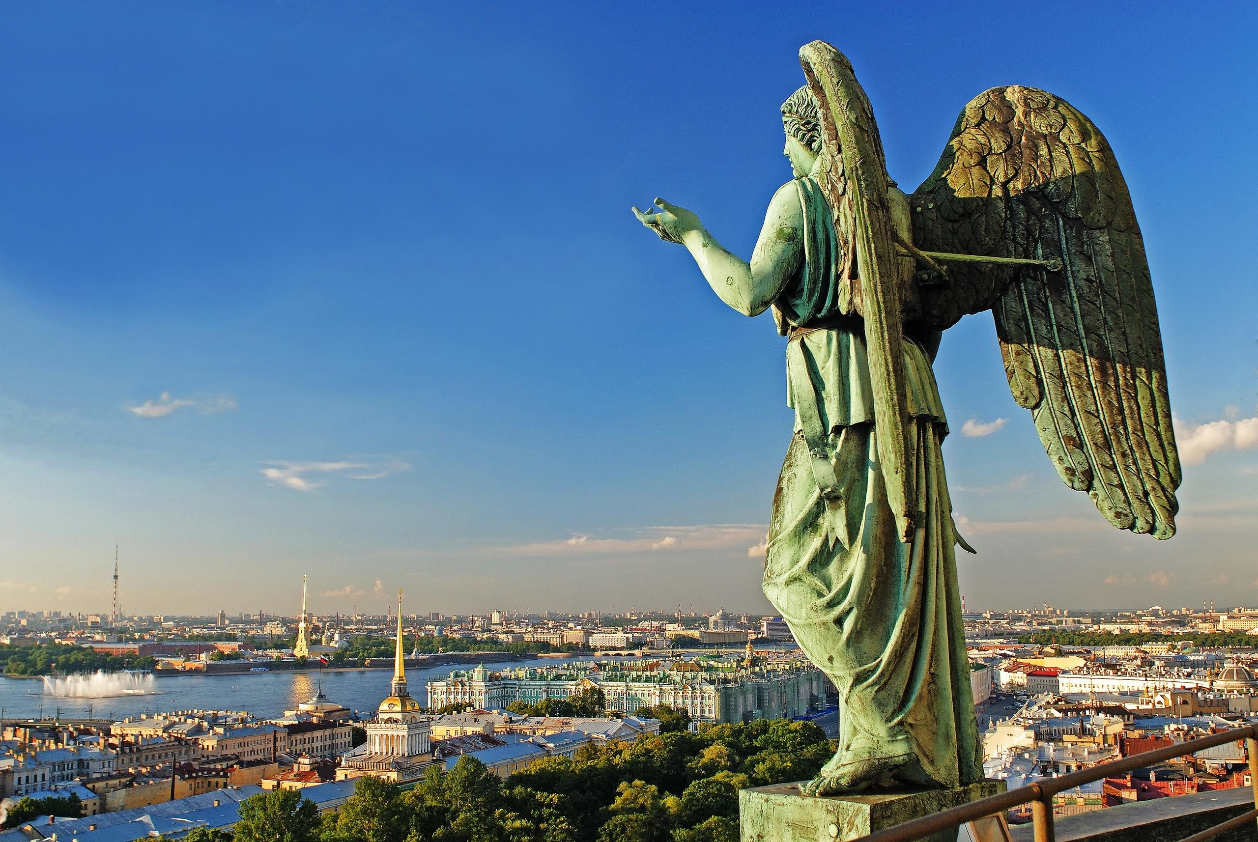 19077 скачать обои Пейзаж, Города, Небо, Архитектура, Ангелы - заставки и картинки бесплатно
