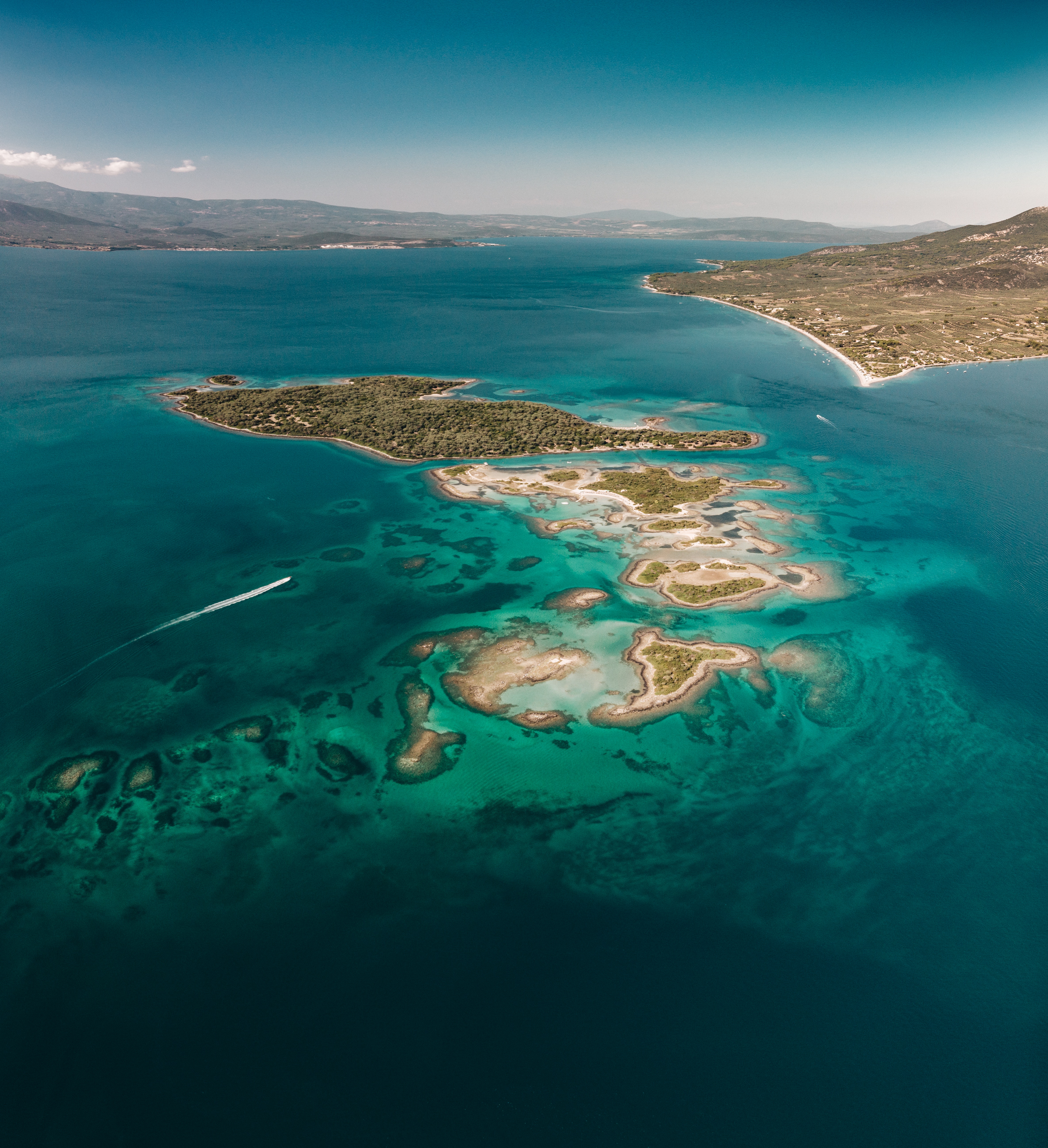 154012 Screensavers and Wallpapers Island for phone. Download Nature, Sea, View From Above, Island, Greece, Agios-Constantinos, Agios Constantinos pictures for free
