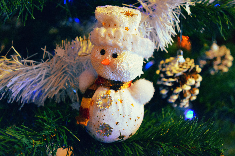 146633 Hintergrundbild herunterladen Feiertage, Schneemann, Geäst, Zweige, Weihnachtsbaum Spielzeug - Bildschirmschoner und Bilder kostenlos