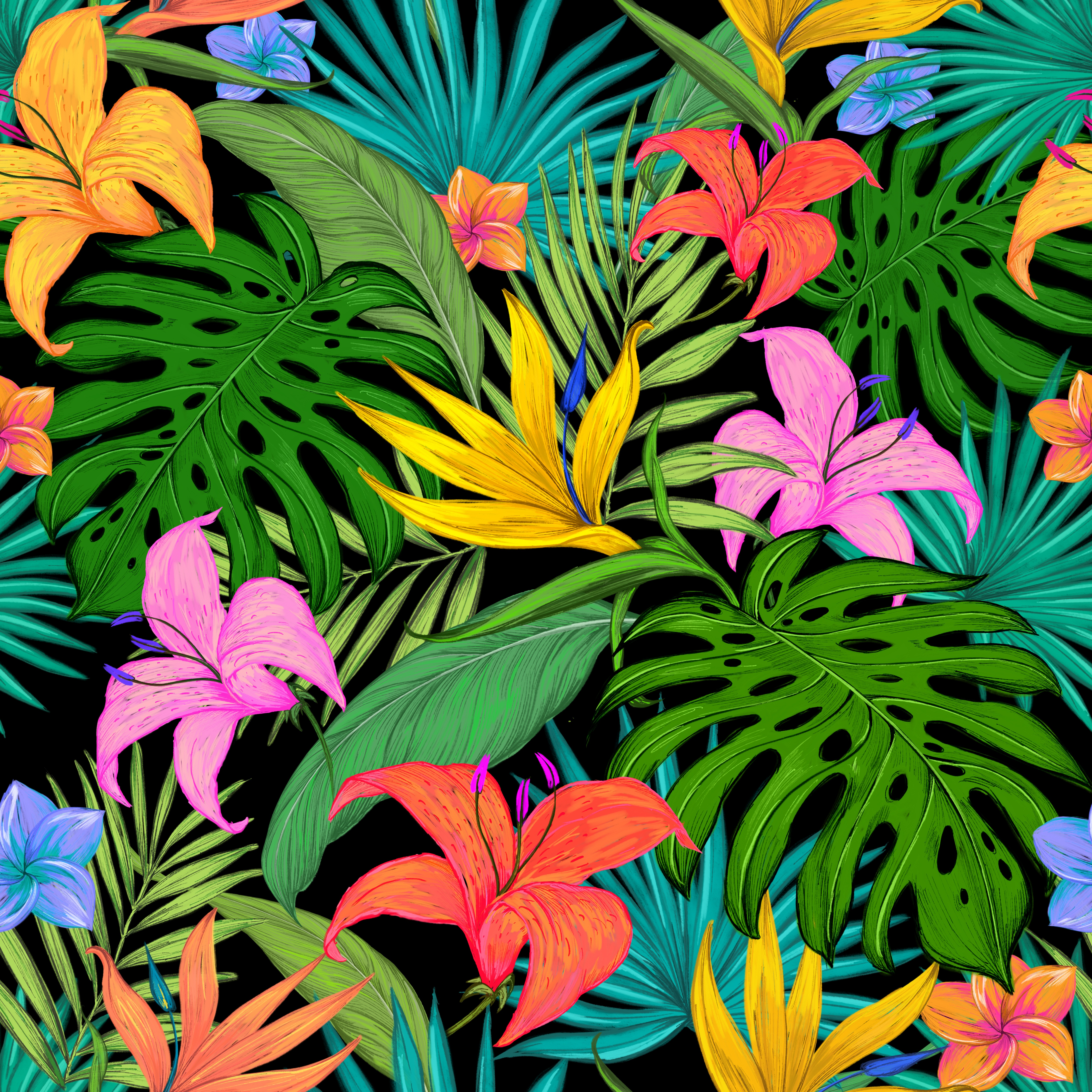67335 download wallpaper Flowers, Leaves, Palms, Lilies, Pattern, Texture, Textures, Color, Tropical, Coloured screensavers and pictures for free