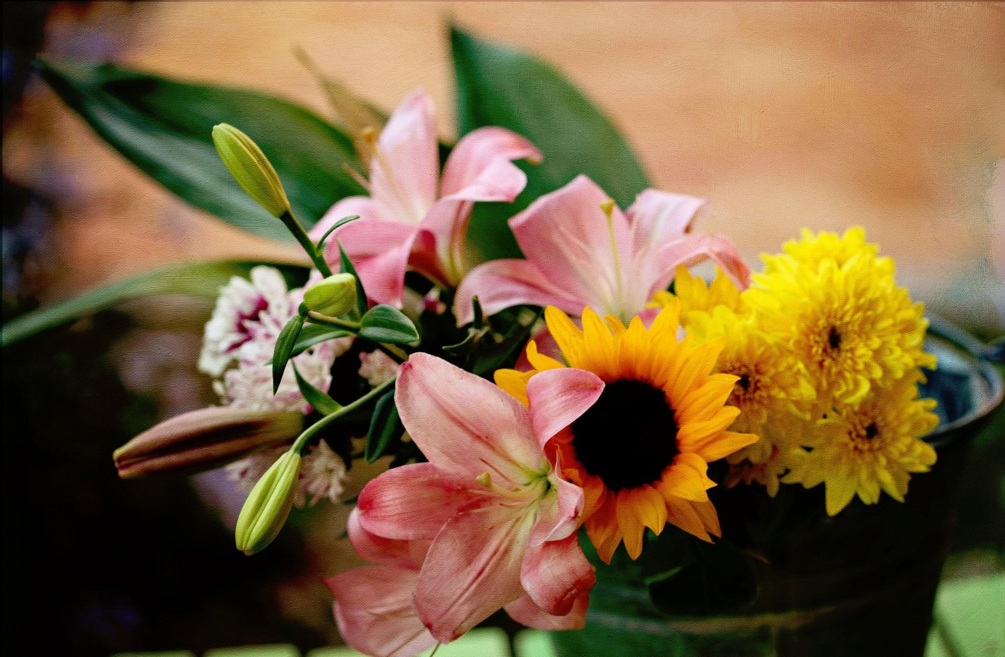 87752 download wallpaper Flowers, Chrysanthemum, Lilies, Bouquet, Sunflower, Bucket screensavers and pictures for free