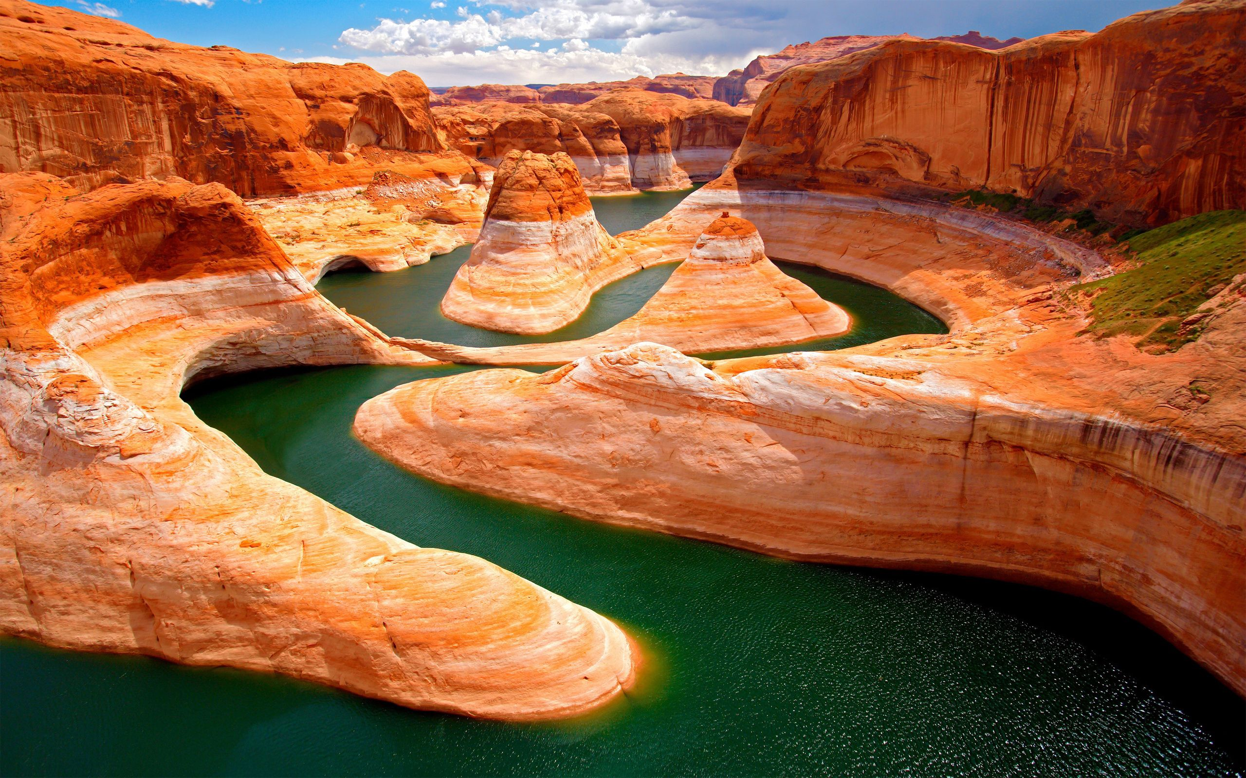 127338 download wallpaper Nature, Canyon, Rivers, Moss, Bends, Turns, Heat, Mountains screensavers and pictures for free