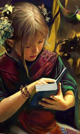 52425 baixar papel de parede Menina, Garota, Duende, Elfo, Livro, Fantasia, Aves - protetores de tela e imagens gratuitamente