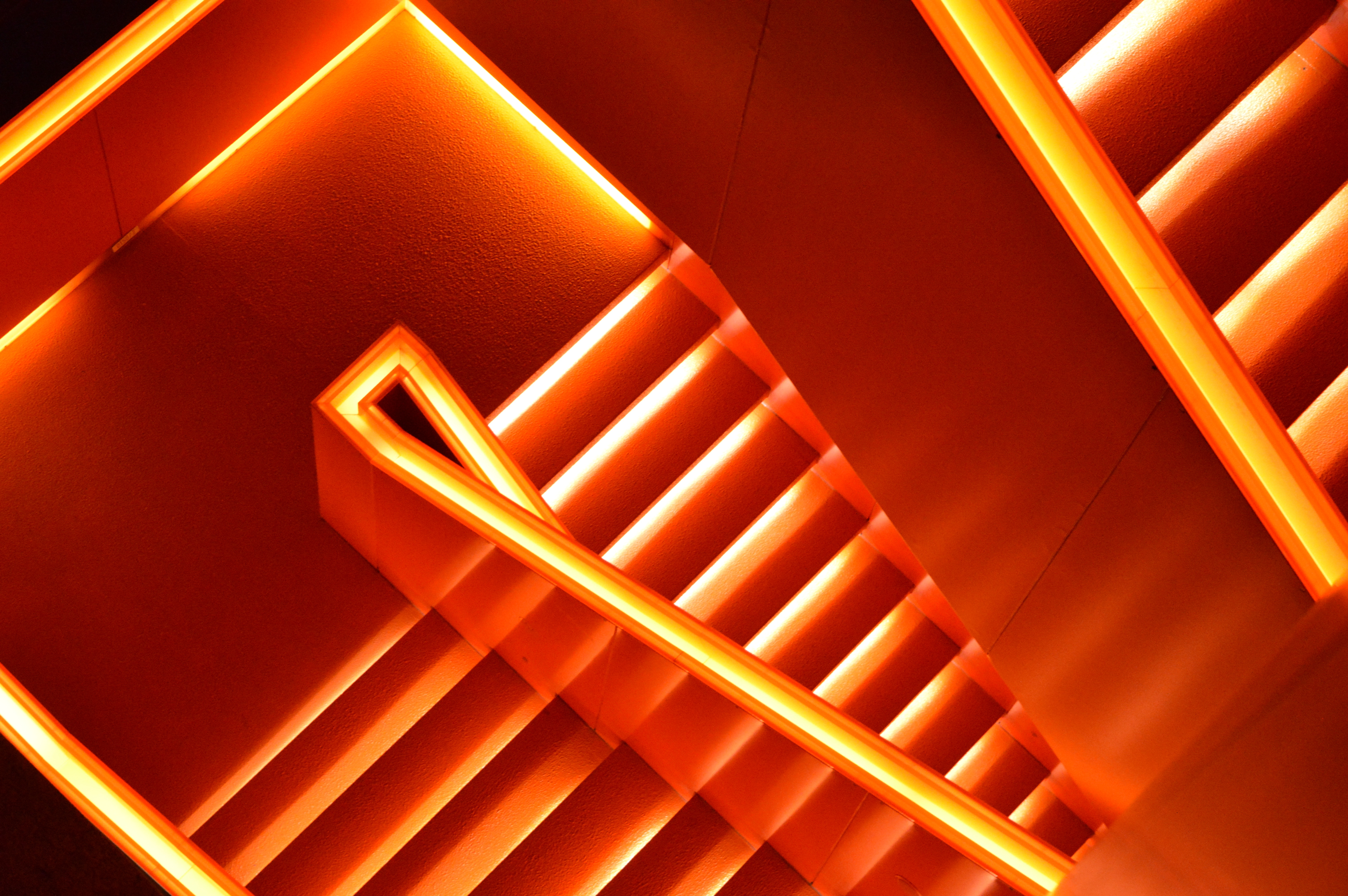58209 download wallpaper Architecture, Miscellanea, Miscellaneous, Neon, Backlight, Illumination, Glow, Stairs, Ladder screensavers and pictures for free