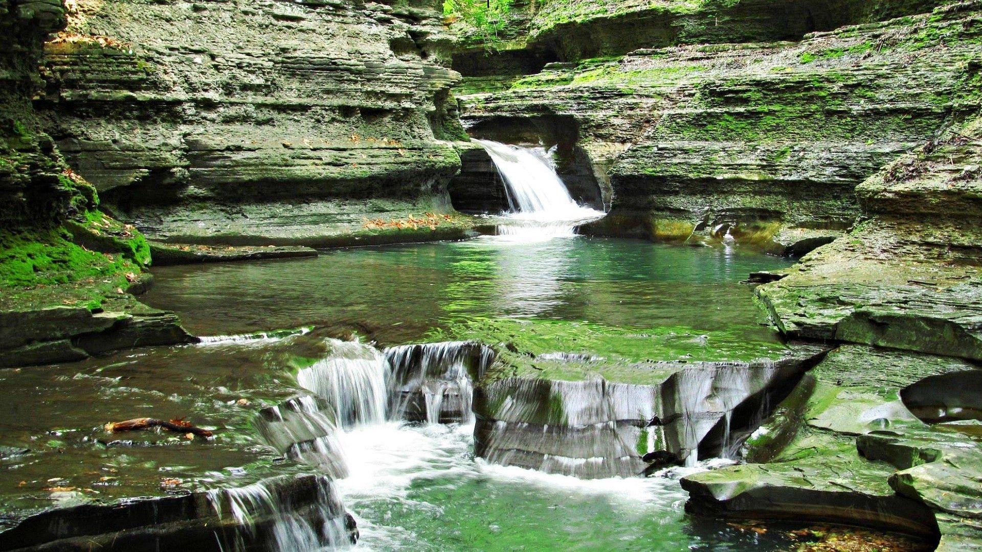 109406 завантажити шпалери Природа, Трава, Фон, Камені, Водоспад - заставки і картинки безкоштовно
