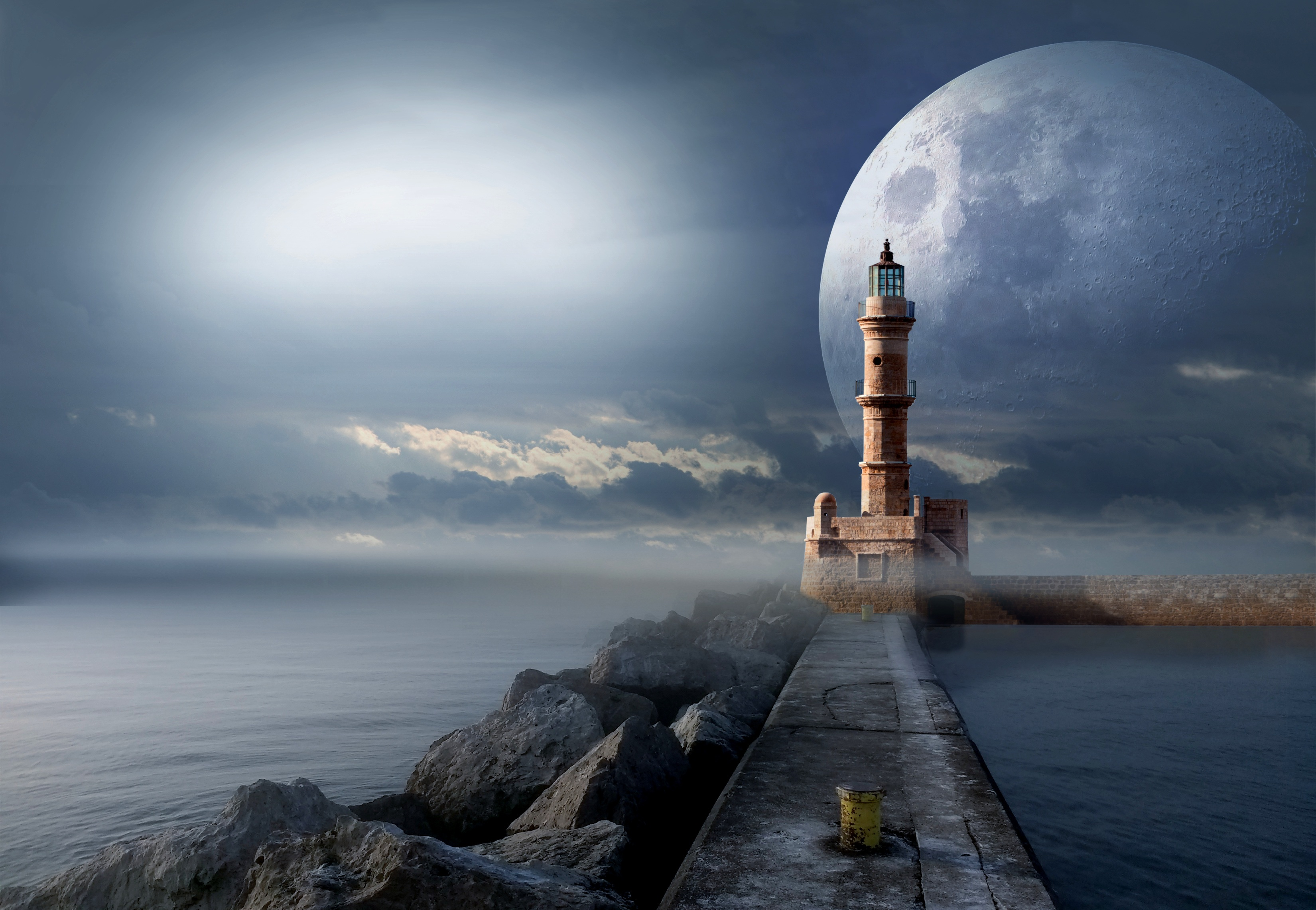 122517 download wallpaper Fantasy, Lighthouse, Moon, Pier, Sea screensavers and pictures for free