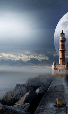 122517 baixar papel de parede Fantasia, Farol, Lua, Cais, Píer, Mar - protetores de tela e imagens gratuitamente