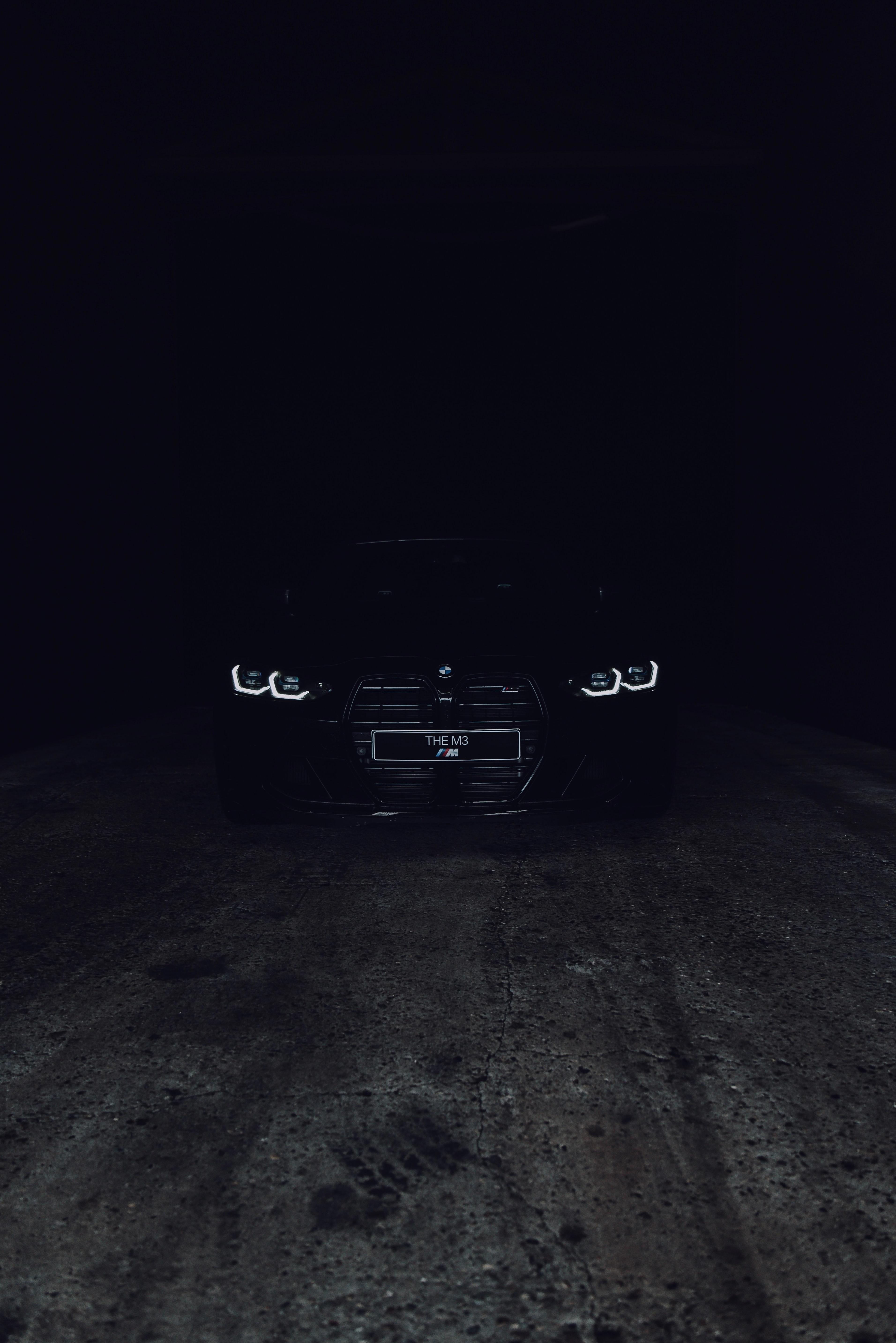 109000 скачать обои Бмв (Bmw), Bmw M3, Тачки (Cars), Дорога, Автомобиль, Темный, Черный, Фары - заставки и картинки бесплатно