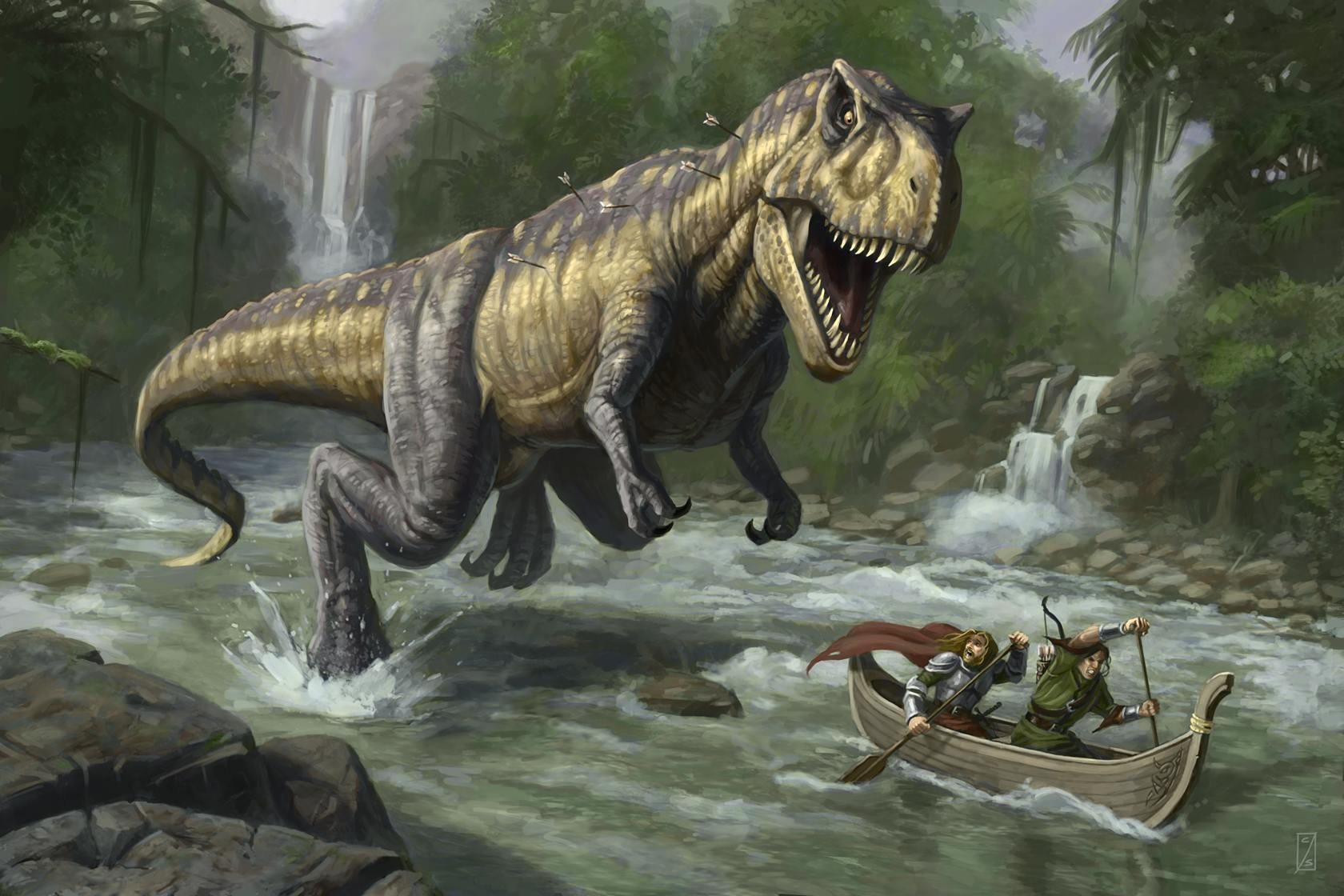22513 download wallpaper Animals, Rivers, Fantasy, Boats, Dinosaurs screensavers and pictures for free