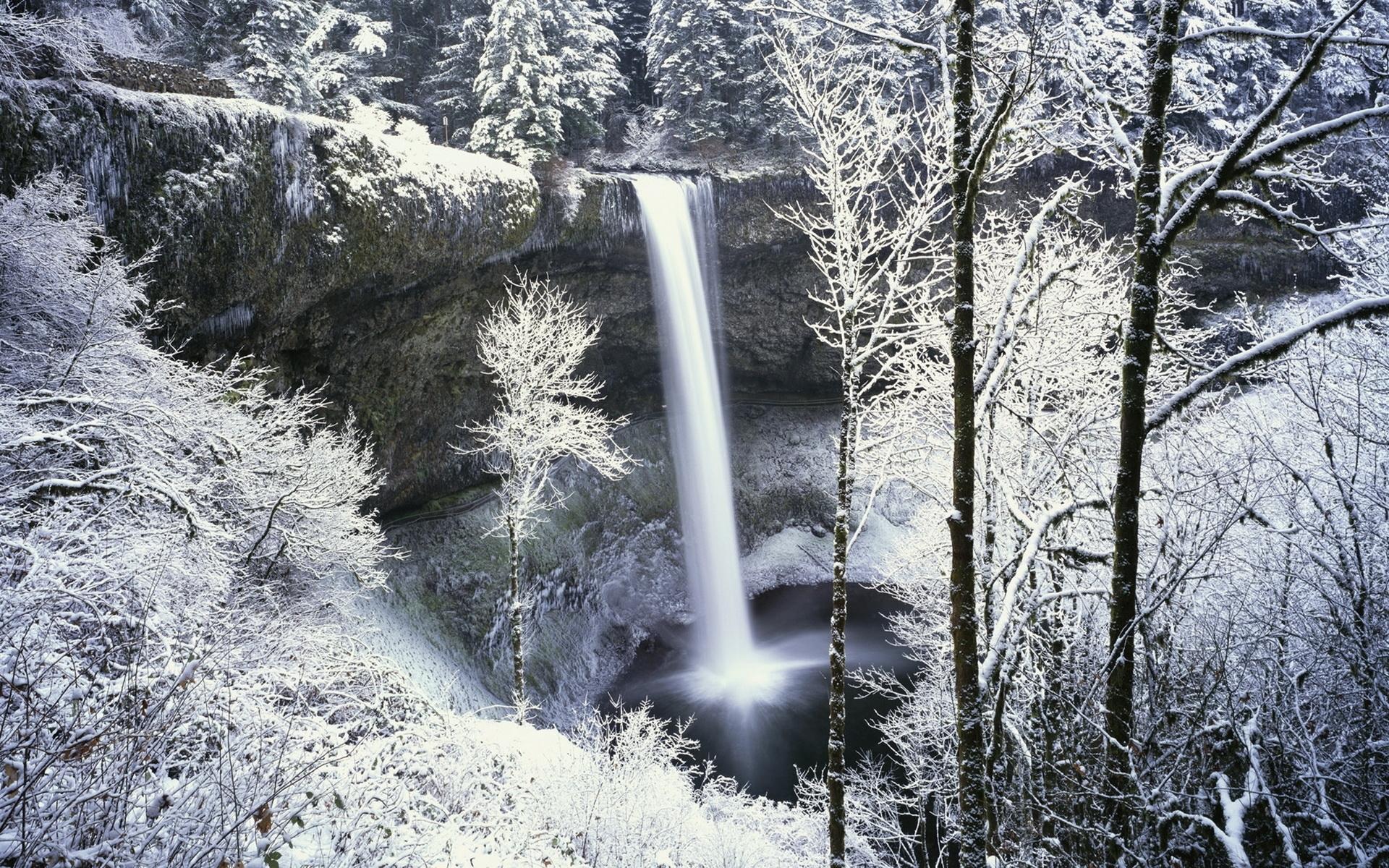 50314 Hintergrundbild herunterladen Wasserfälle, Landschaft, Winterreifen, Natur, Schnee - Bildschirmschoner und Bilder kostenlos