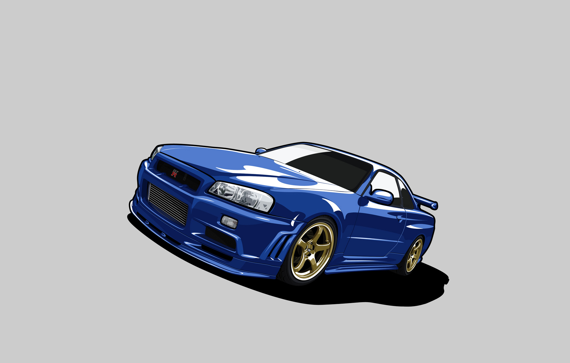 136273 download wallpaper Nissan, Cars, Minimalism, Gt-R, Gtr, Skyline, R34 screensavers and pictures for free