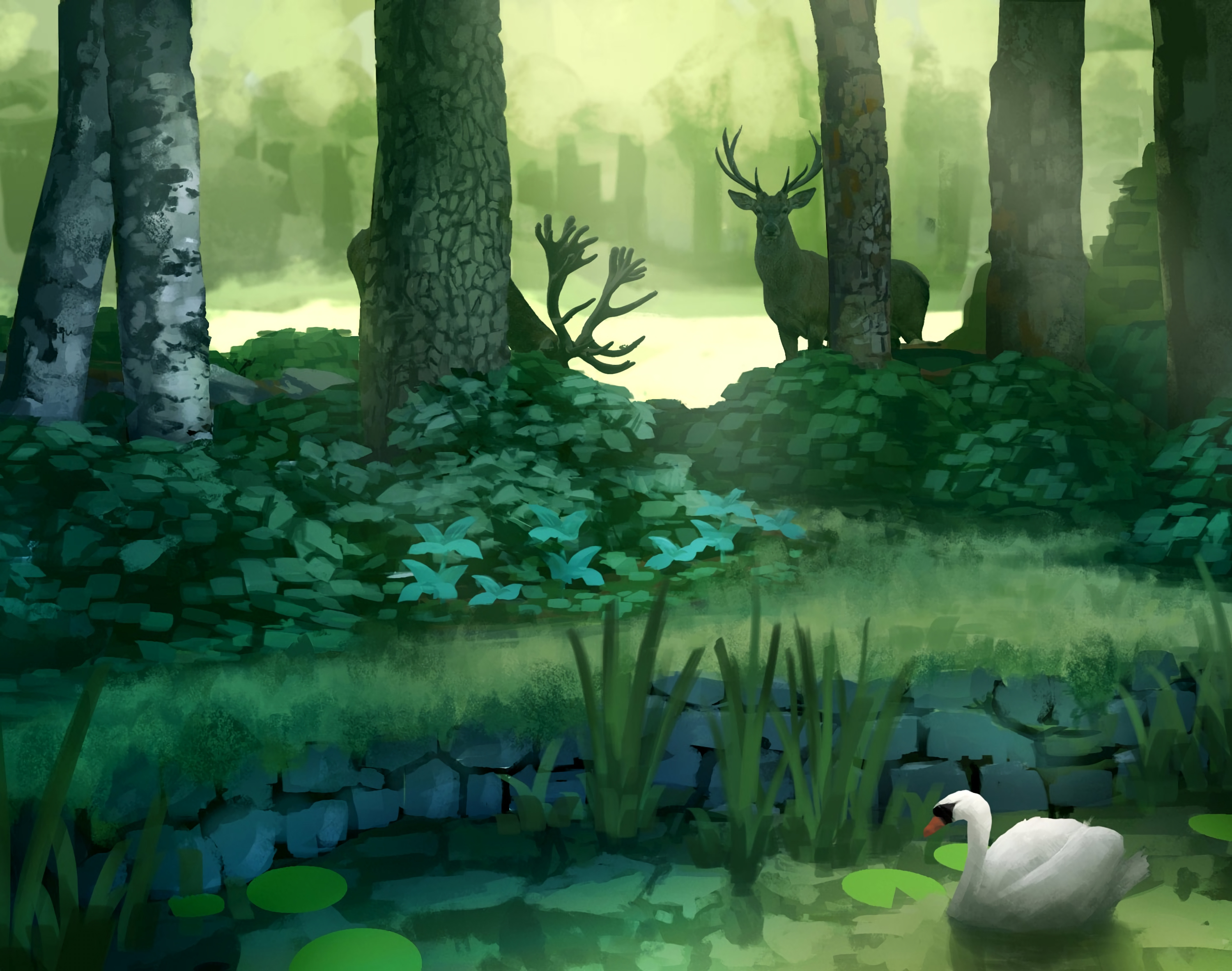 121746 free wallpaper 720x1520 for phone, download images Trees, Art, Deers, Forest, Swan, Pond 720x1520 for mobile