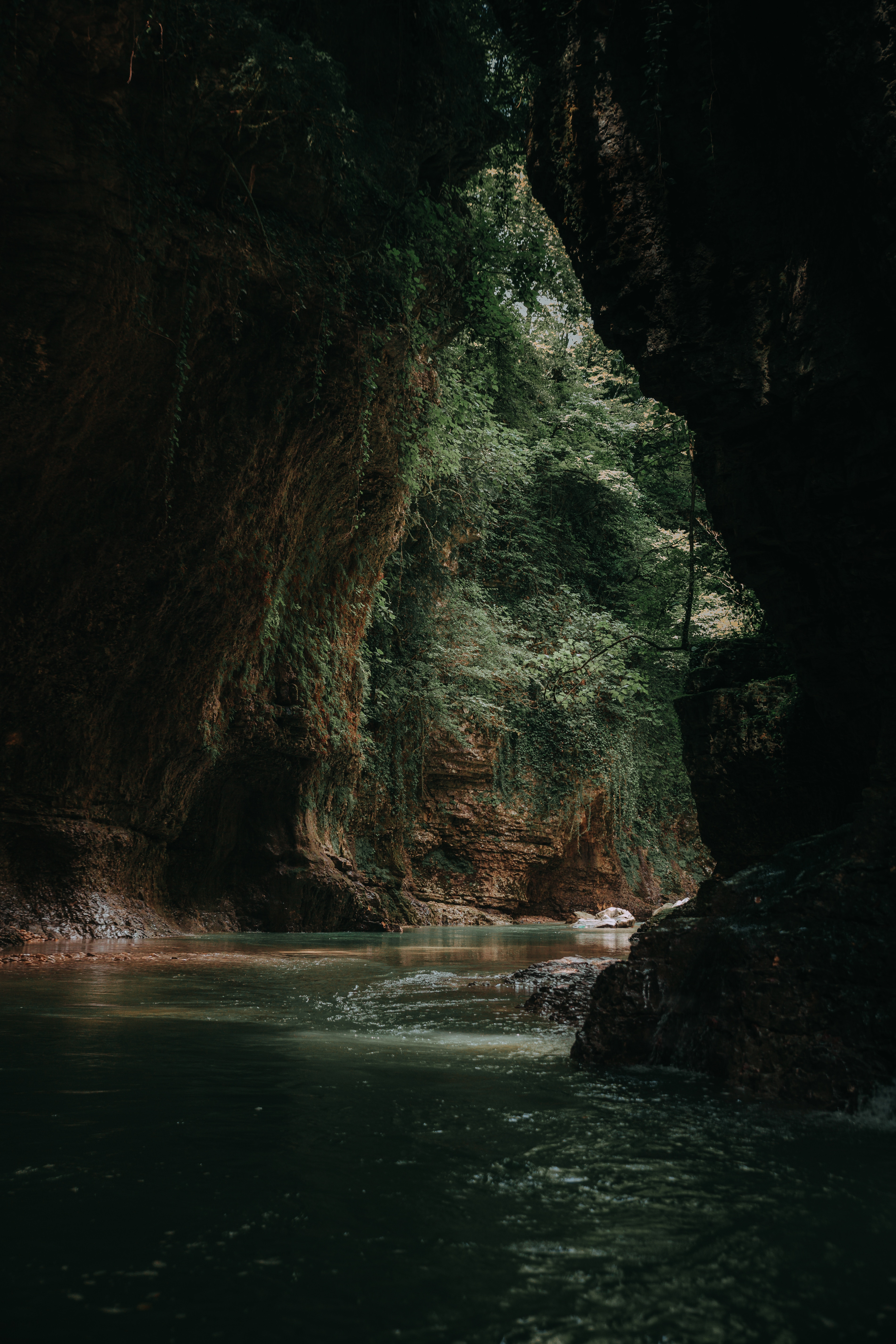 105158 download wallpaper Dark, Nature, Water, Stones, Cave screensavers and pictures for free
