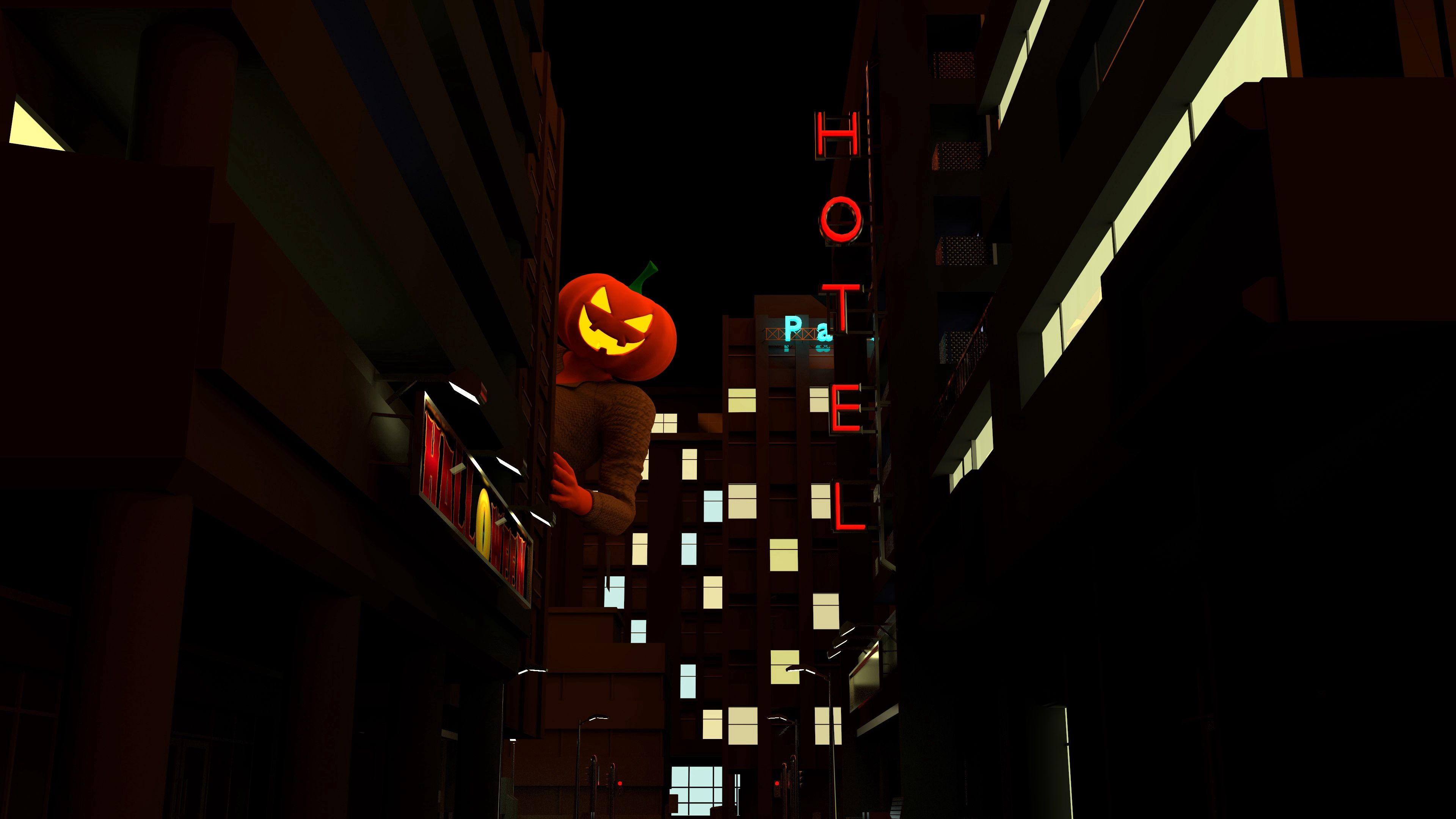 83144 download wallpaper Holidays, Halloween, Dark, Night City, Peek Out, Look Out, Jack Lamp, Jack's Lamp screensavers and pictures for free