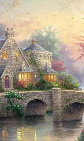 30488 скачать обои Дома, Мосты, Рисунки - заставки и картинки бесплатно