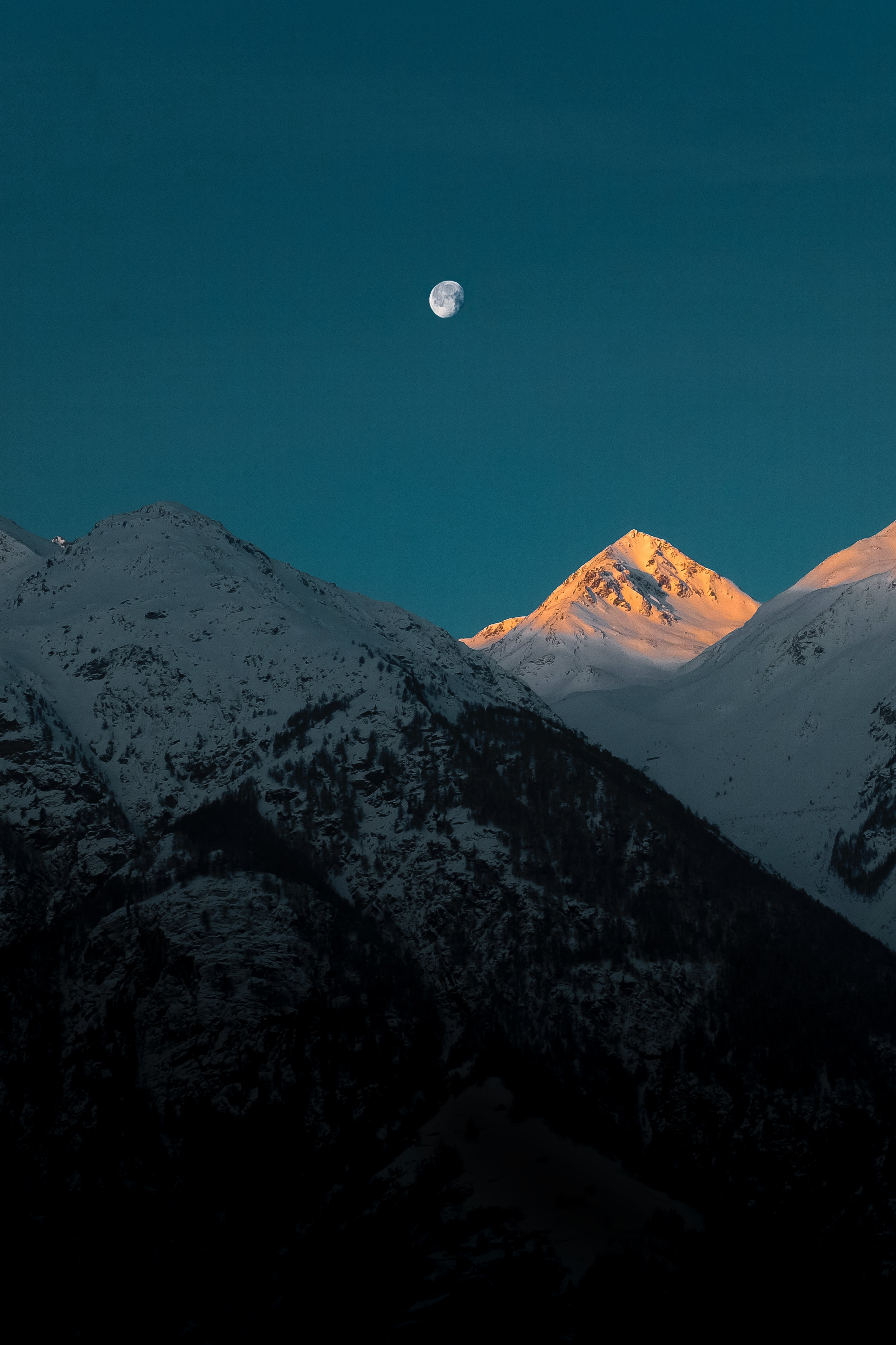 72013 download wallpaper Nature, Mountains, Twilight, Moon, Vertex, Top, Dusk, Snow Covered, Snowbound screensavers and pictures for free