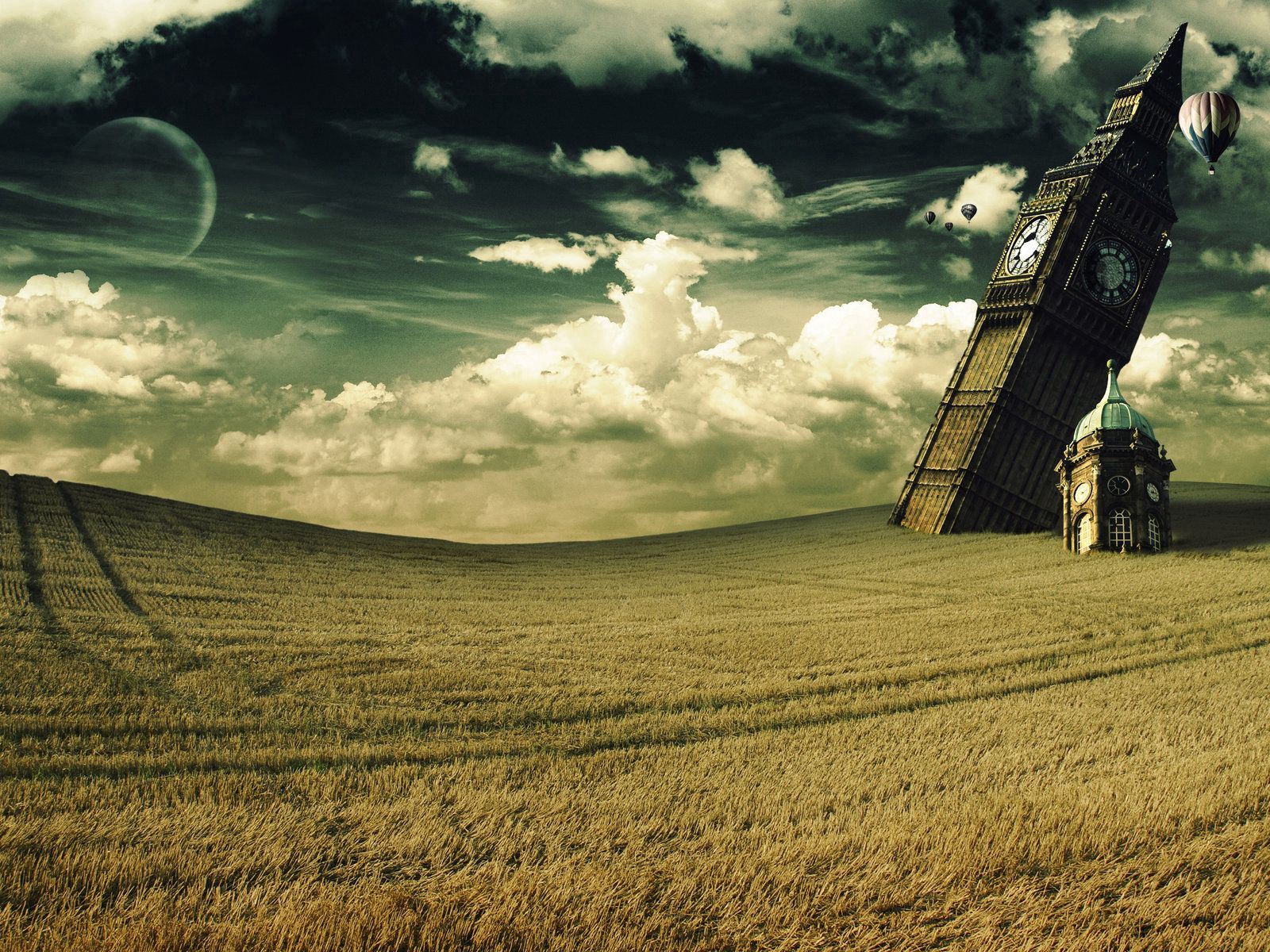 56112 download wallpaper Art, Tower, Big Ben, Fall, Surrealism, Field, Clock screensavers and pictures for free