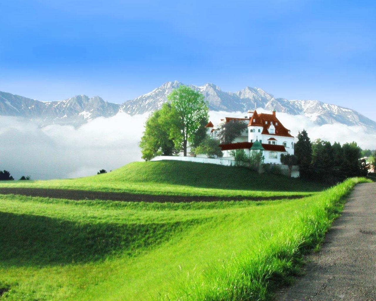 Скачать картинку Пейзаж, Дома, Горы в телефон бесплатно.
