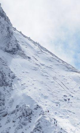 56482 скачать обои Природа, Гора, Склон, Снег, Люди, Вид Сверху - заставки и картинки бесплатно
